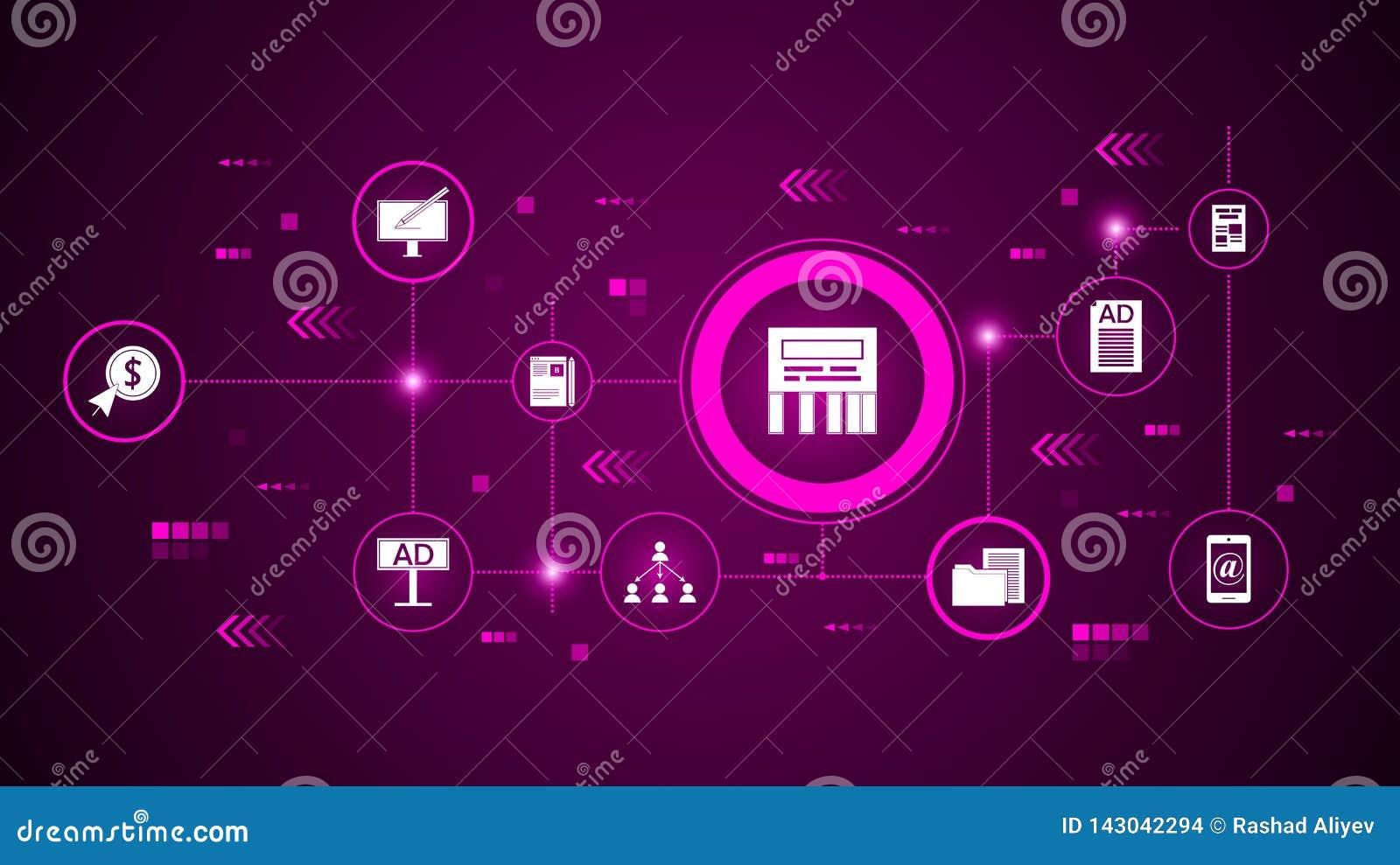 Direct berichtpictogram Van Digitale Marketing, Bevorderingsreeks