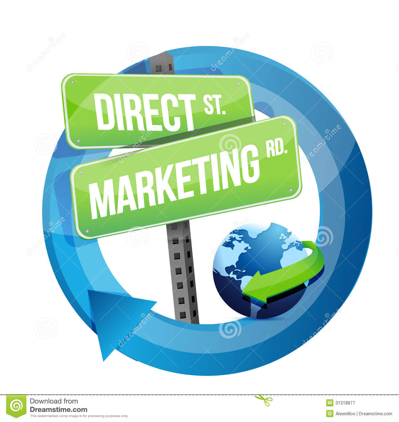 Direct marketing road sign and globe illustration royalty for Direct from the designers