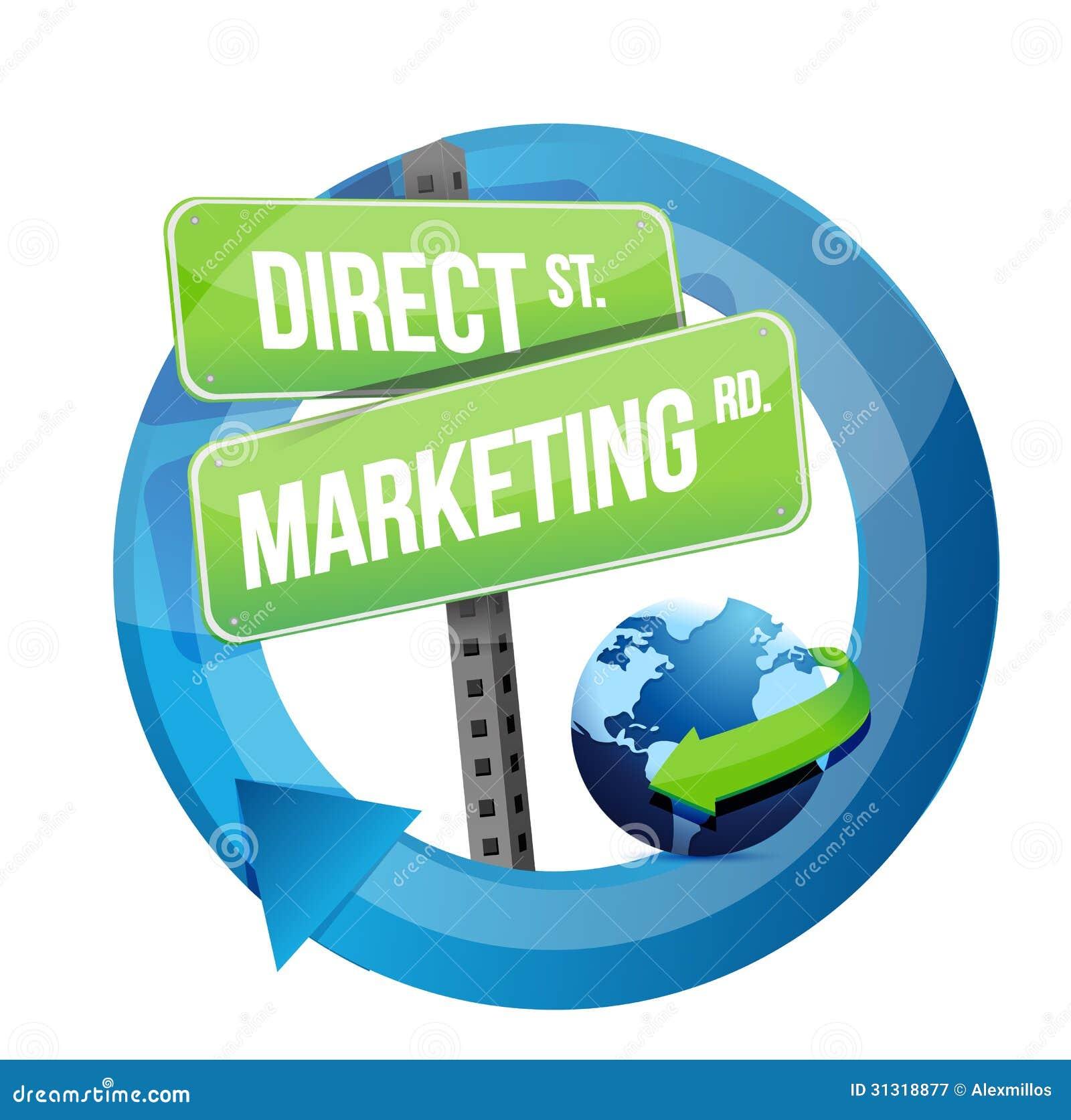 Direct-marketing verkeersteken en bolillustratie
