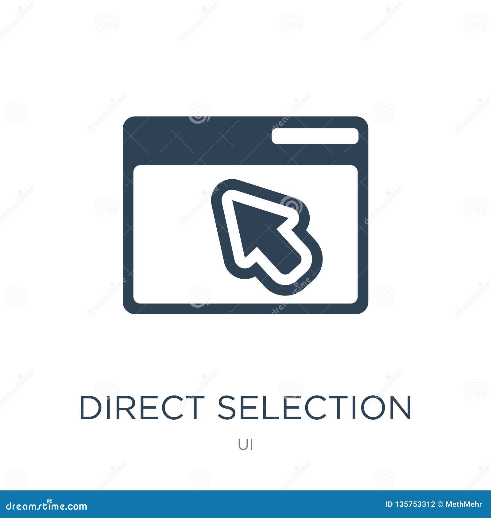 Direct selectiepictogram in in ontwerpstijl direct die selectiepictogram op witte achtergrond wordt geïsoleerd direct selectie ve