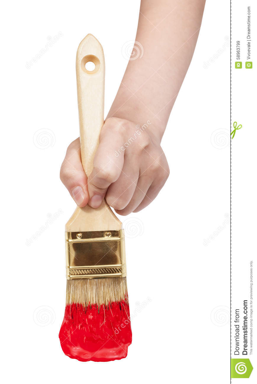 Direct view of painter hand with red paintbrush
