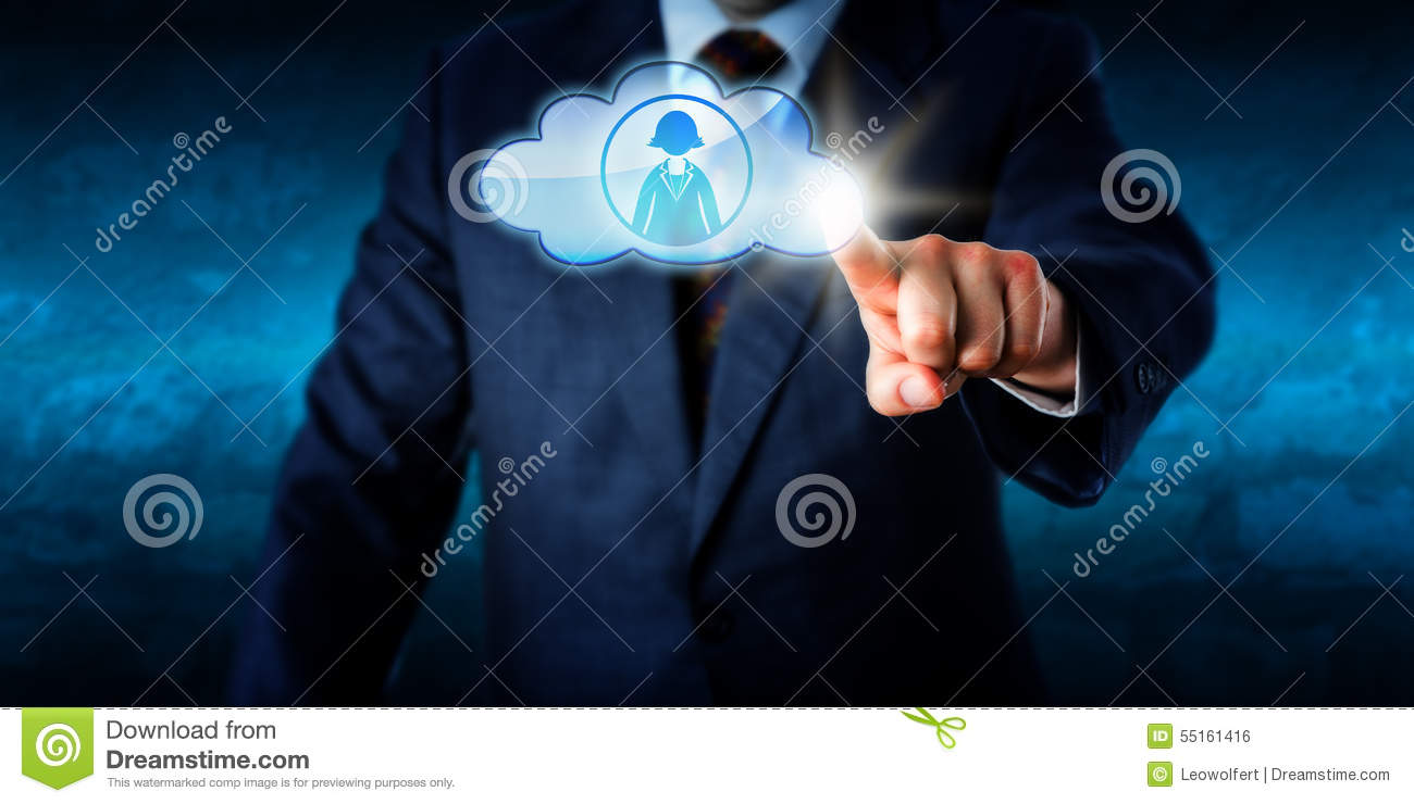 Directeur Connecting With Female Peer Via The Cloud