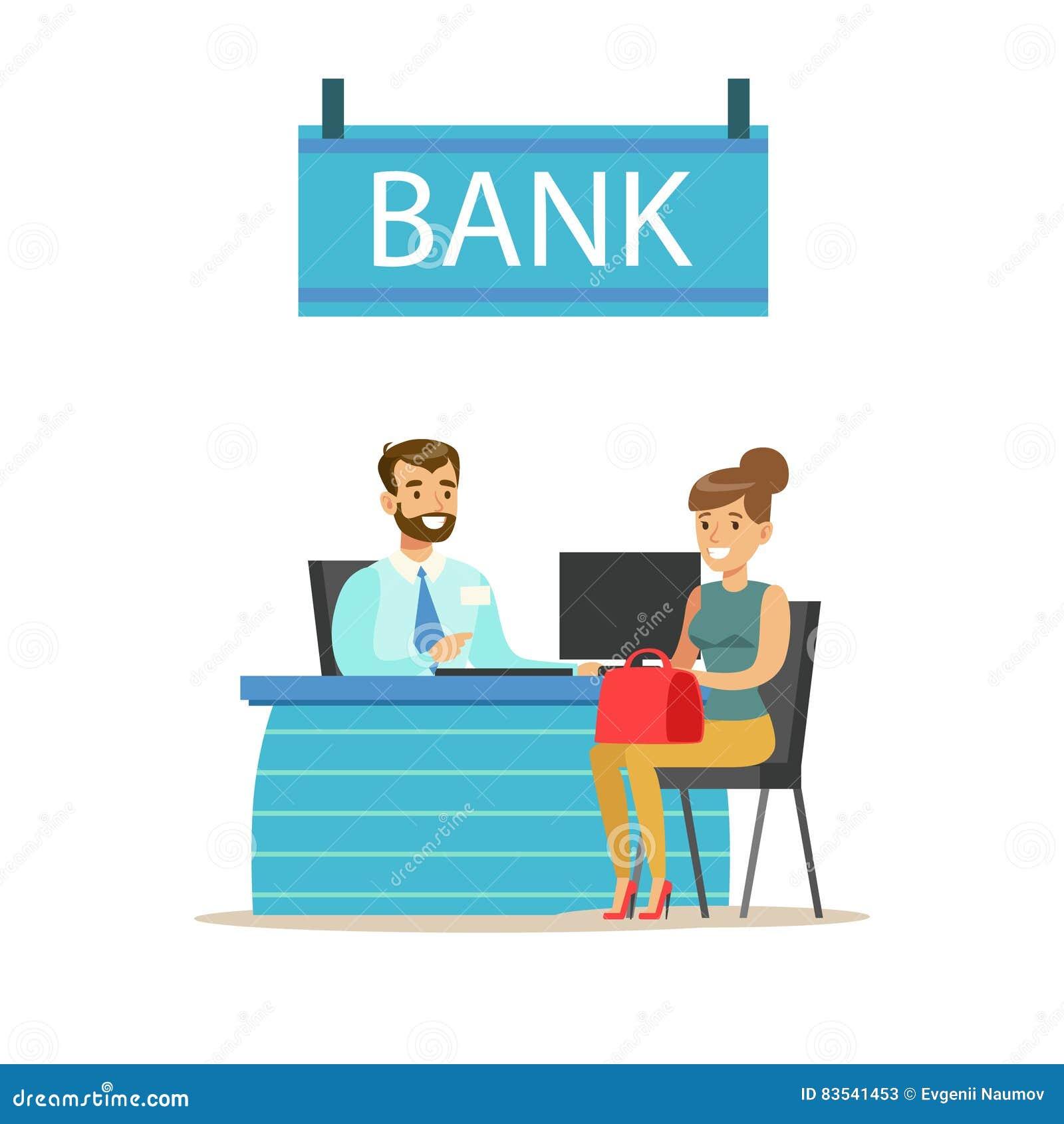 directeur d 39 agence at his desk et le client service bancaire gestion des comptes et vecteur. Black Bedroom Furniture Sets. Home Design Ideas