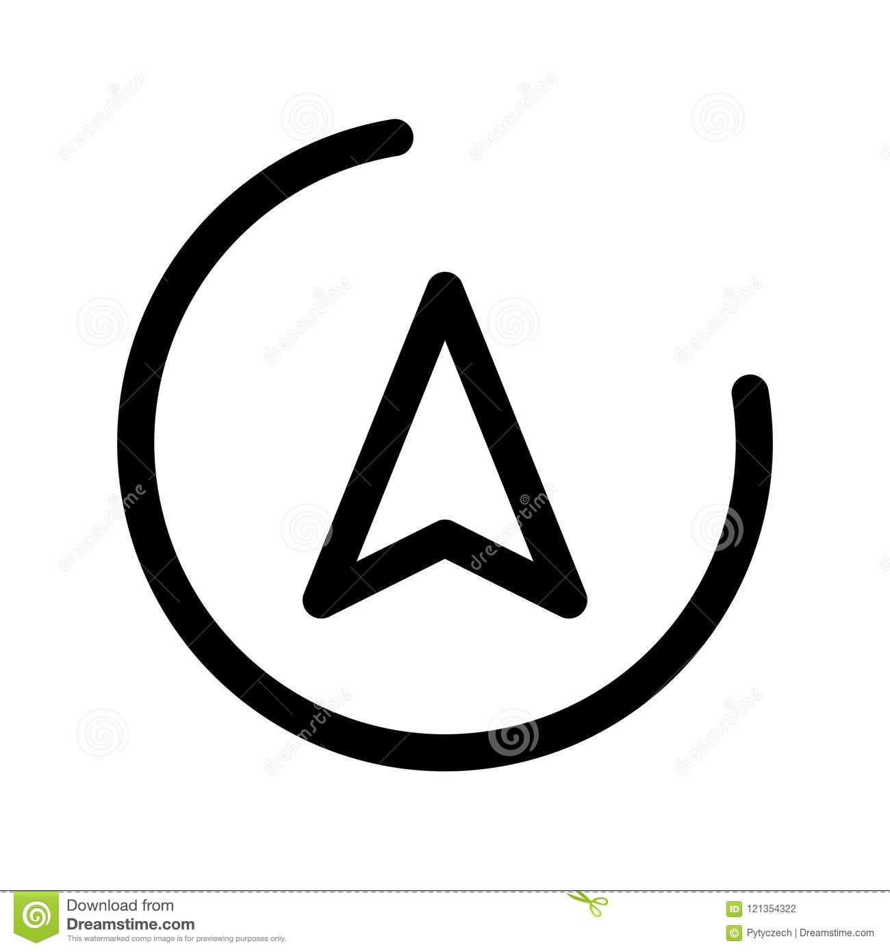 Direction arrow in a circle. Navigation theme. Outline modern design element. Simple black flat vector sign with rounded