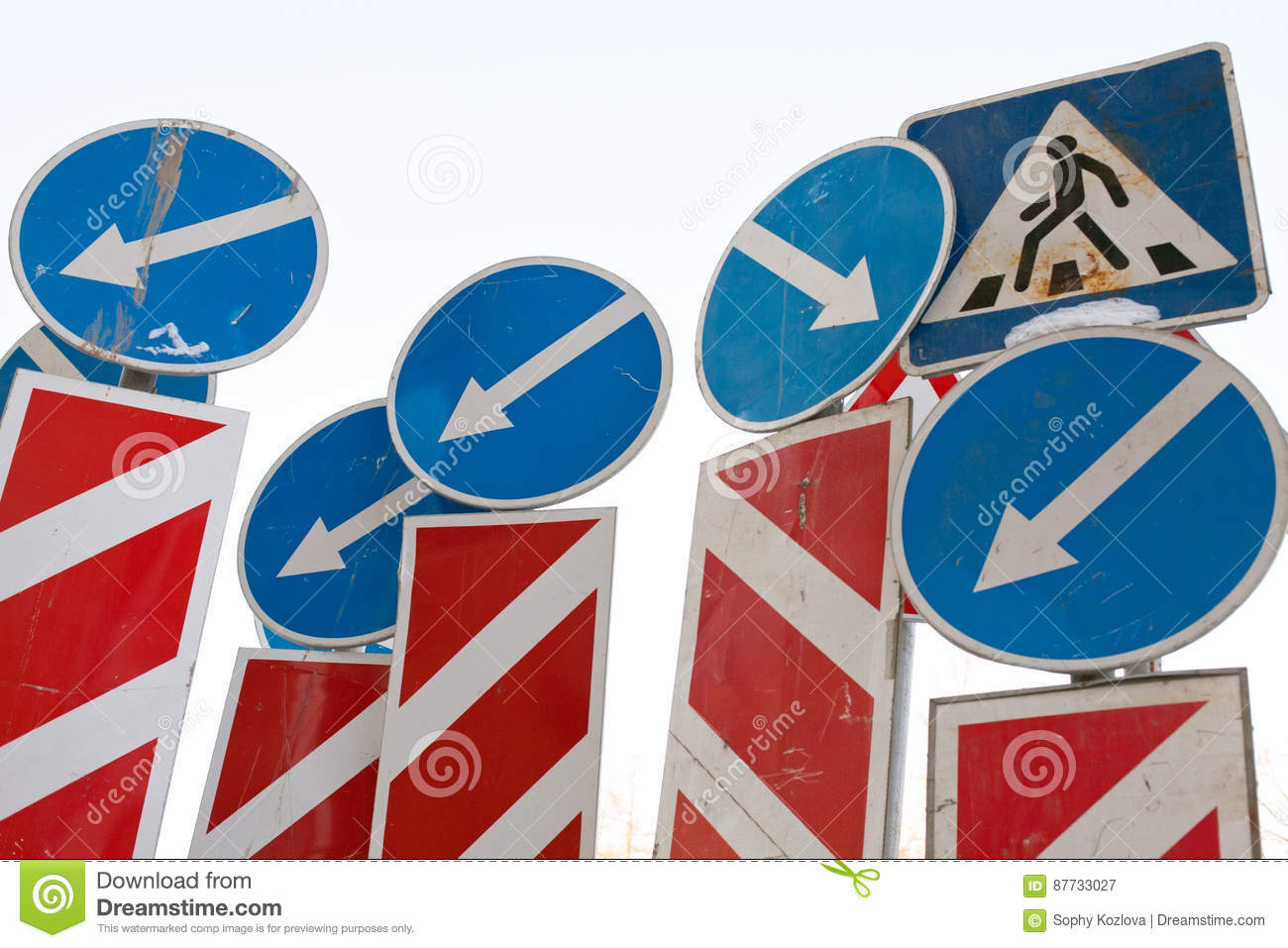 Direction arrows traffic signs
