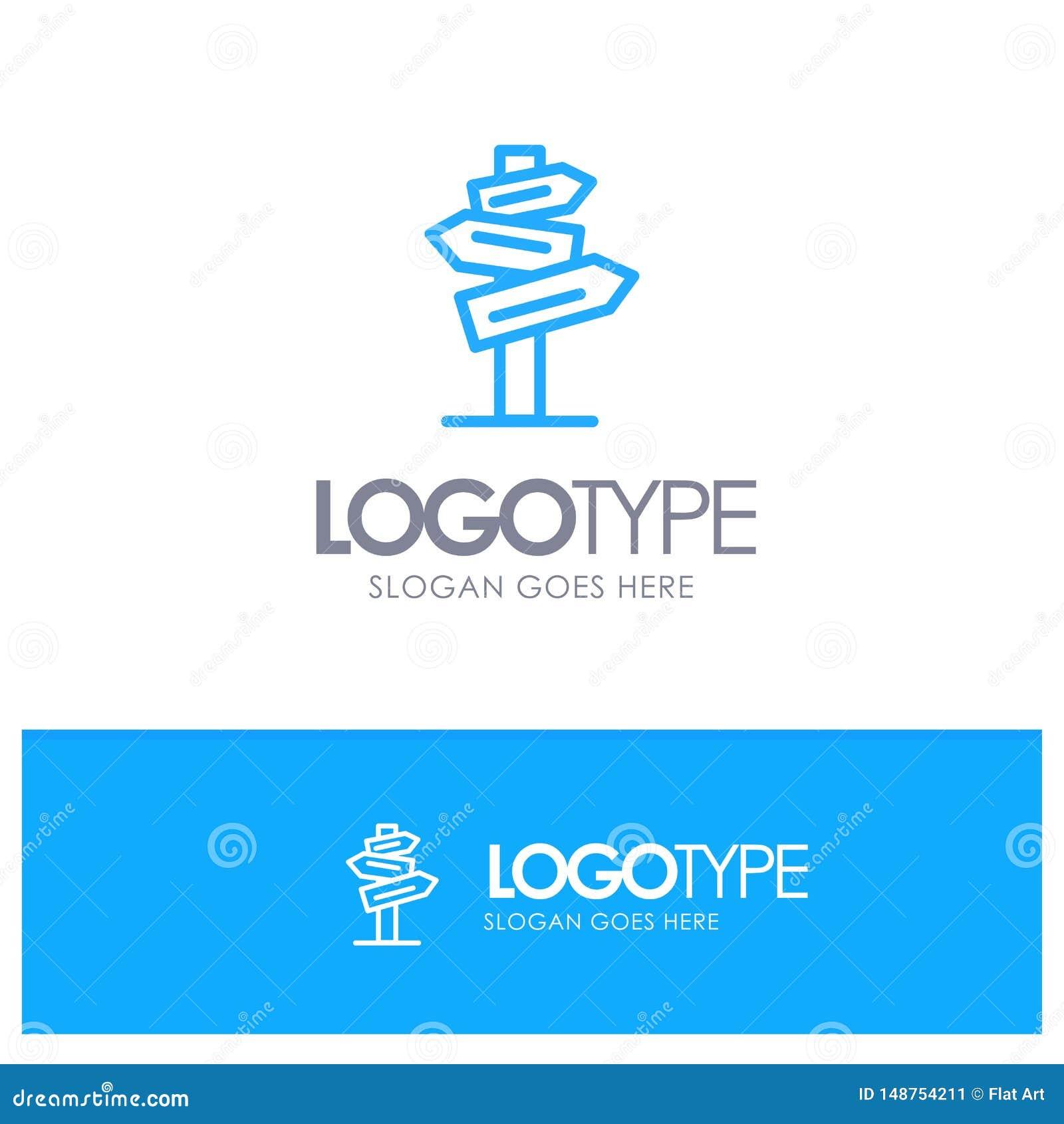 Direction, hôtel, motel, pièce Logo Line Style bleu