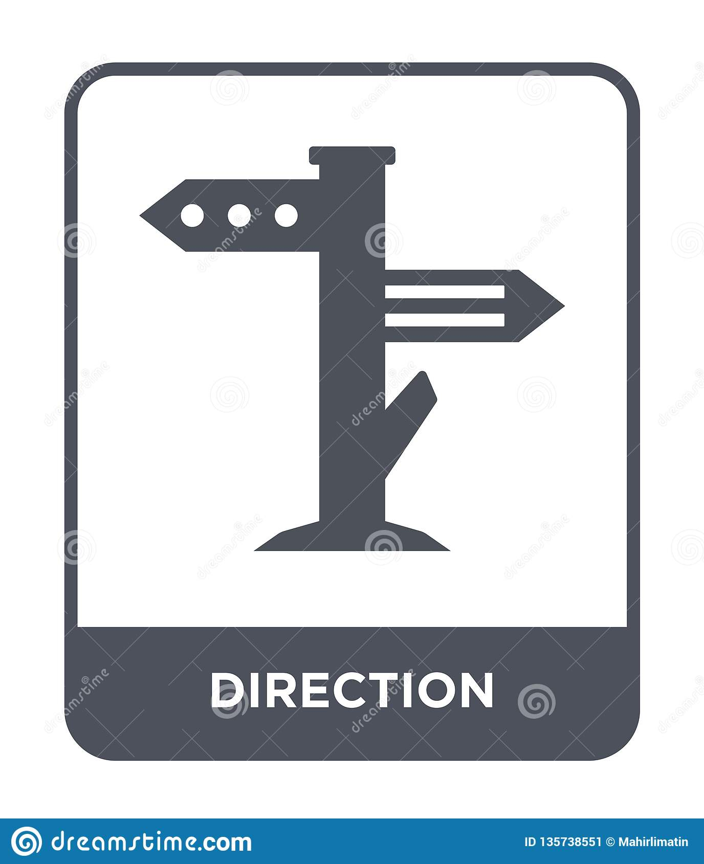 direction icon in trendy design style. direction icon isolated on white background. direction vector icon simple and modern flat
