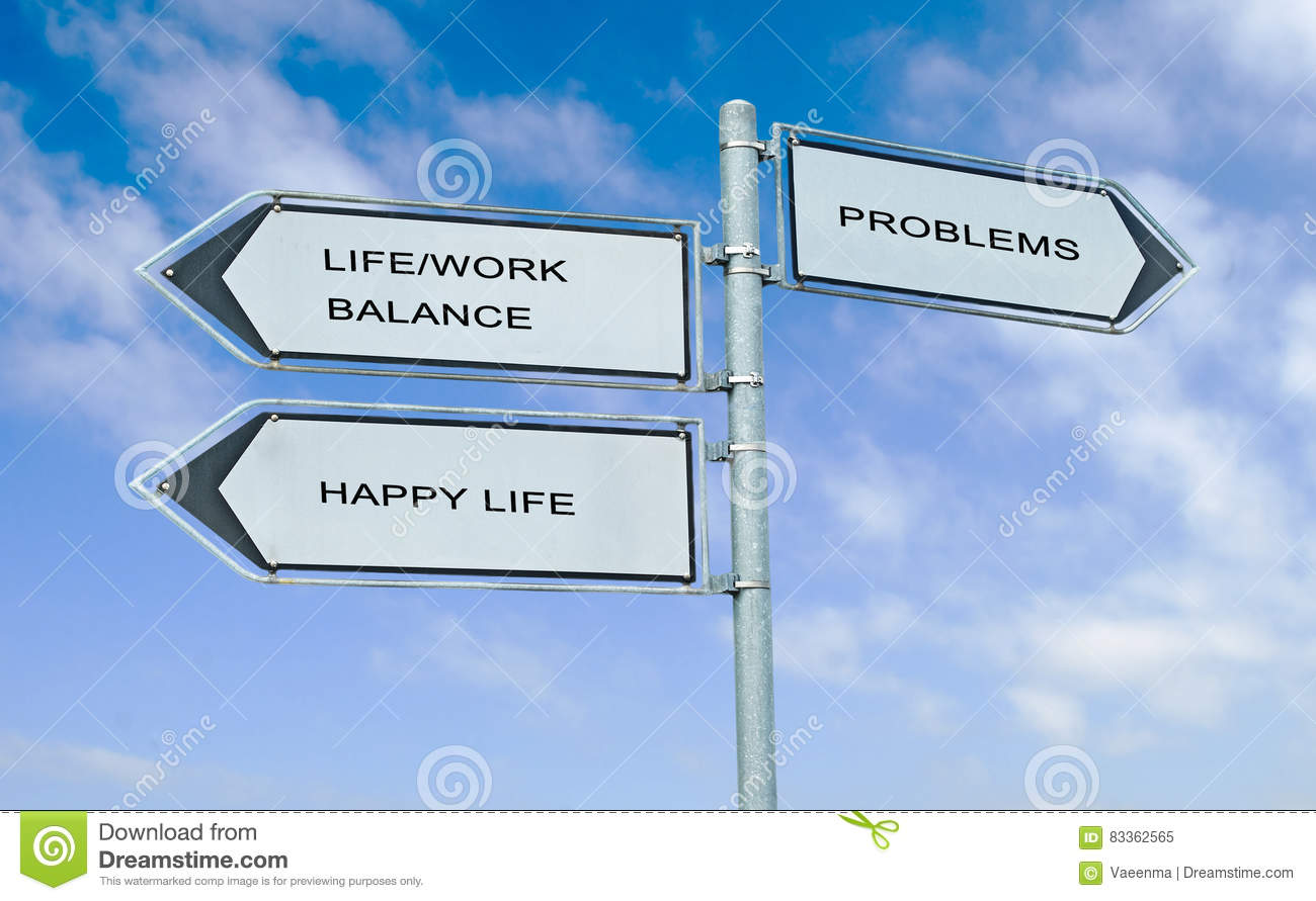 Direction road sign with words life/work balance, happy life, a