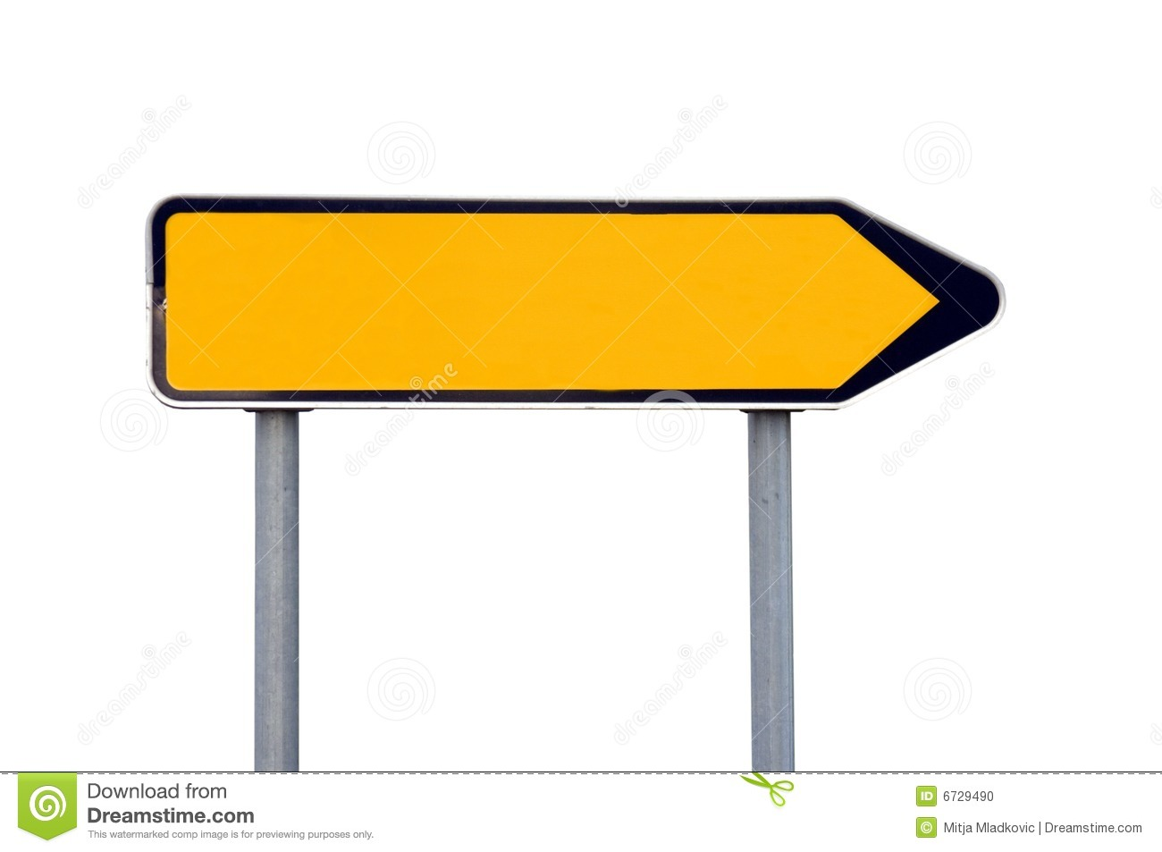 Blank yellow and black direction signs isolated on white.