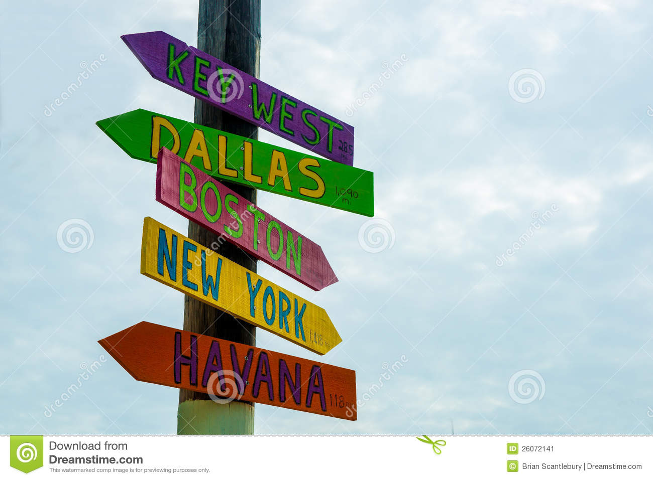 direction sign to well known places stock image image of boston
