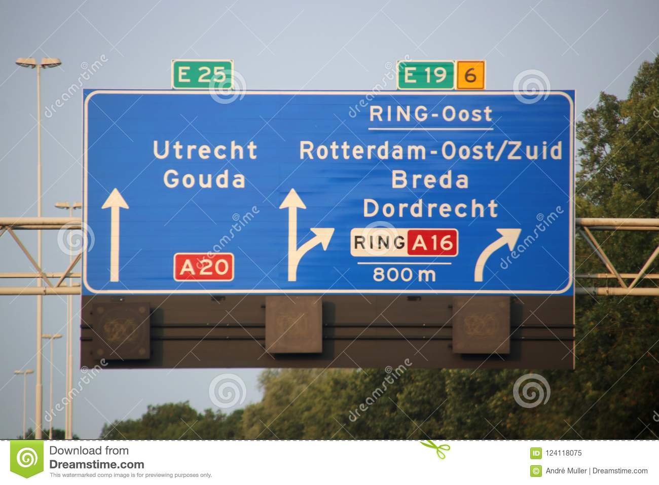 Direction and speed sign above motorway A20 at the Terbregseplein with split to the south of Rotterdam via A16 and E19