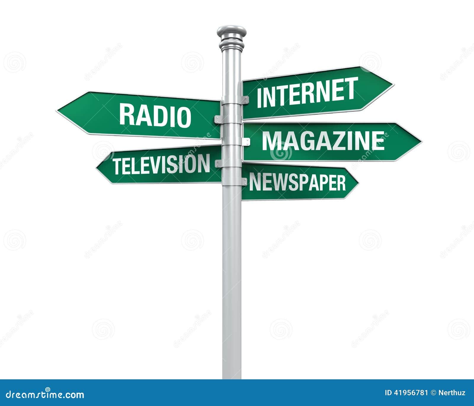 Directions de signe d information de media