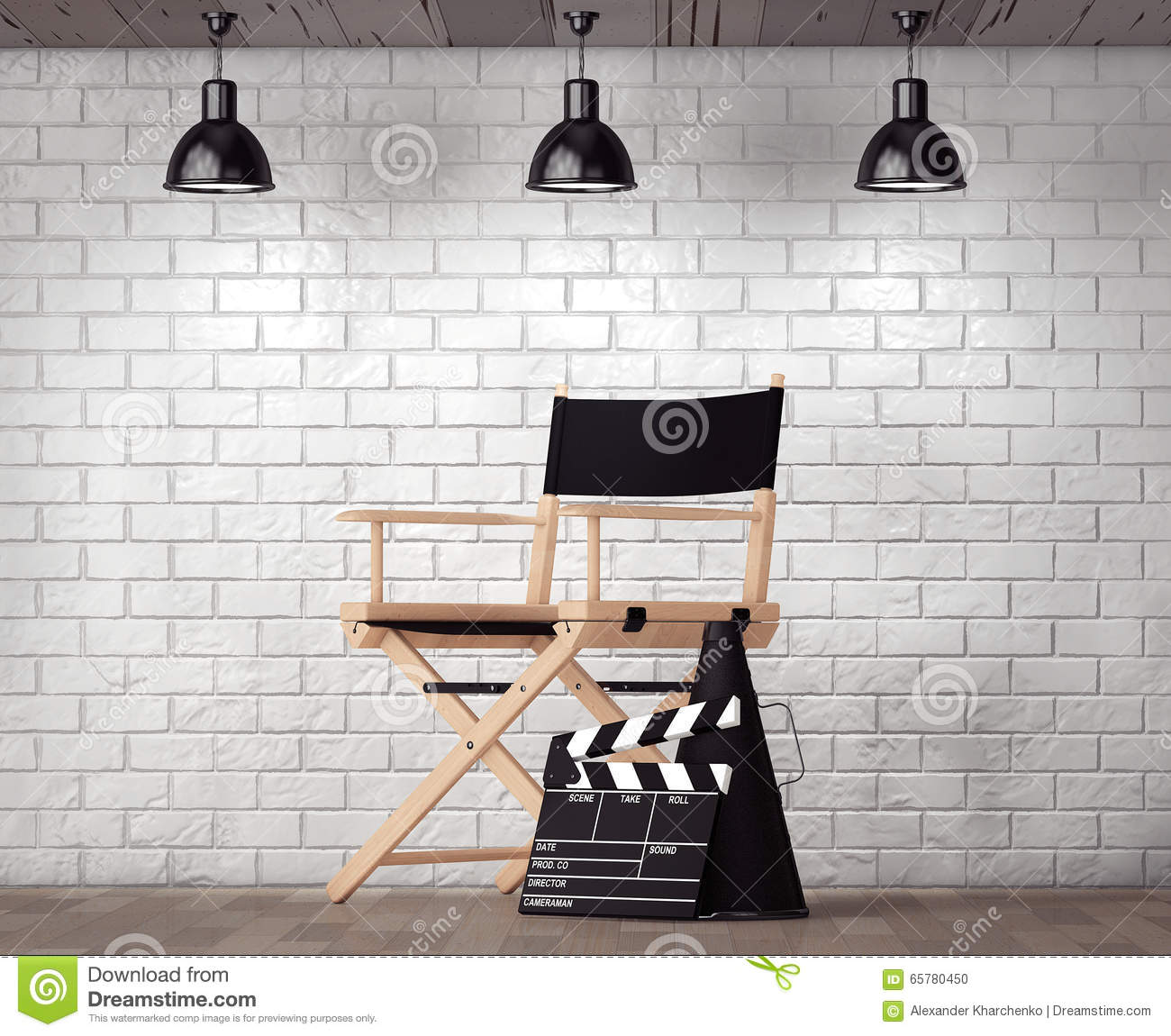 Director Chair, Movie Clapper and Megaphone in front of Brick Wa