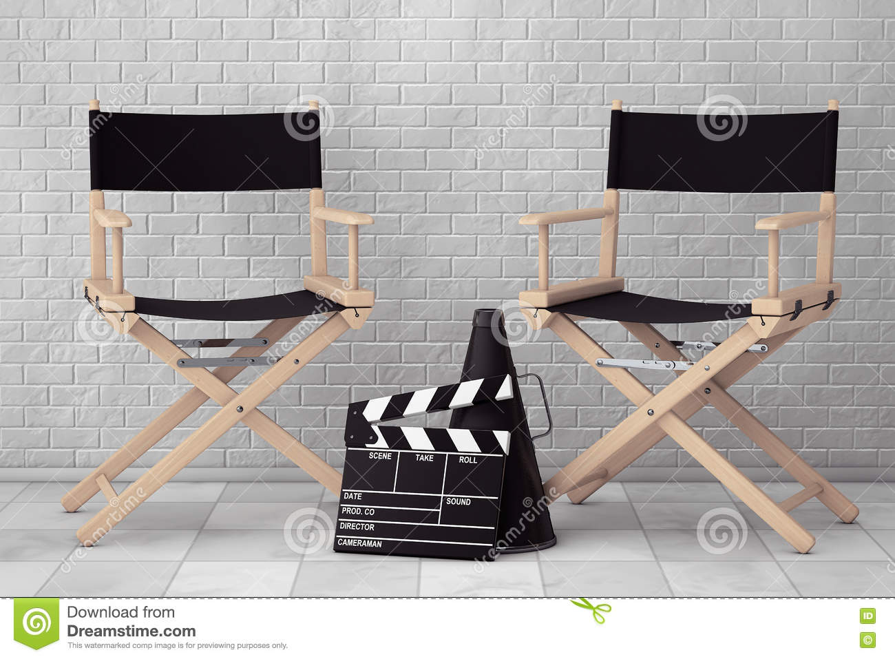 Director Chairs, Movie Clapper and Megaphone. 3d Rendering - Director Chairs, Movie Clapper And Megaphone. 3d Rendering Stock