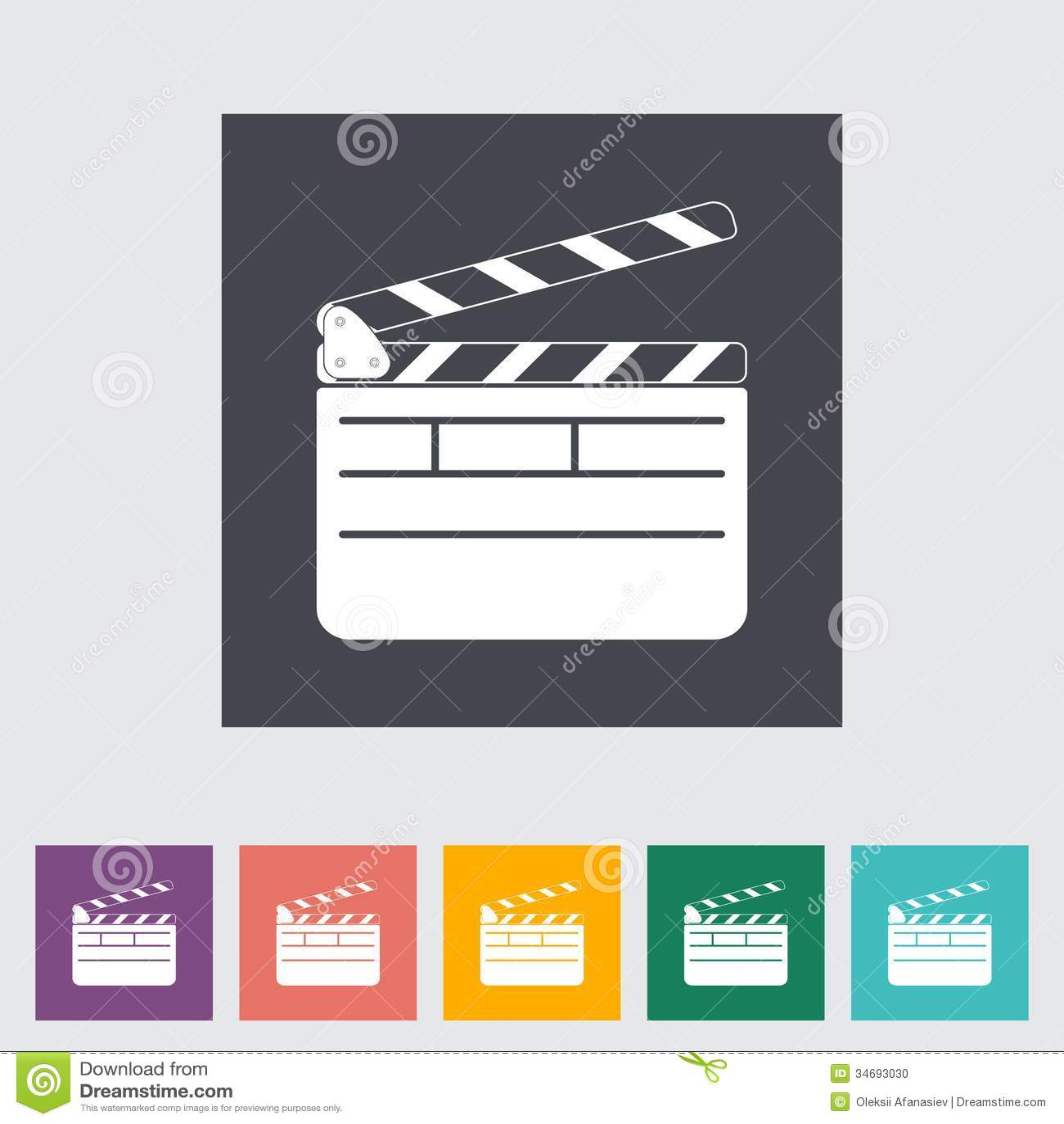 director clapperboard flat icon vector illustration 34693030. Black Bedroom Furniture Sets. Home Design Ideas