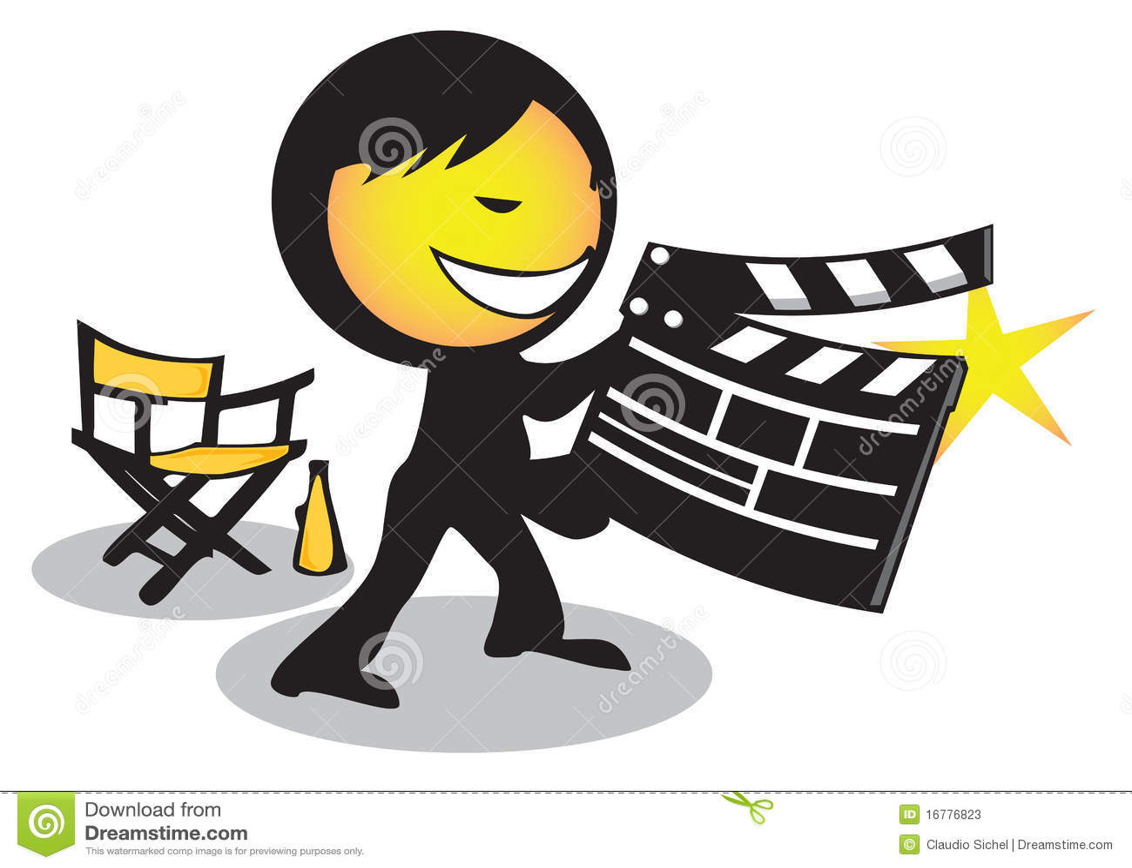 director movie clapboard stock vector image of happy