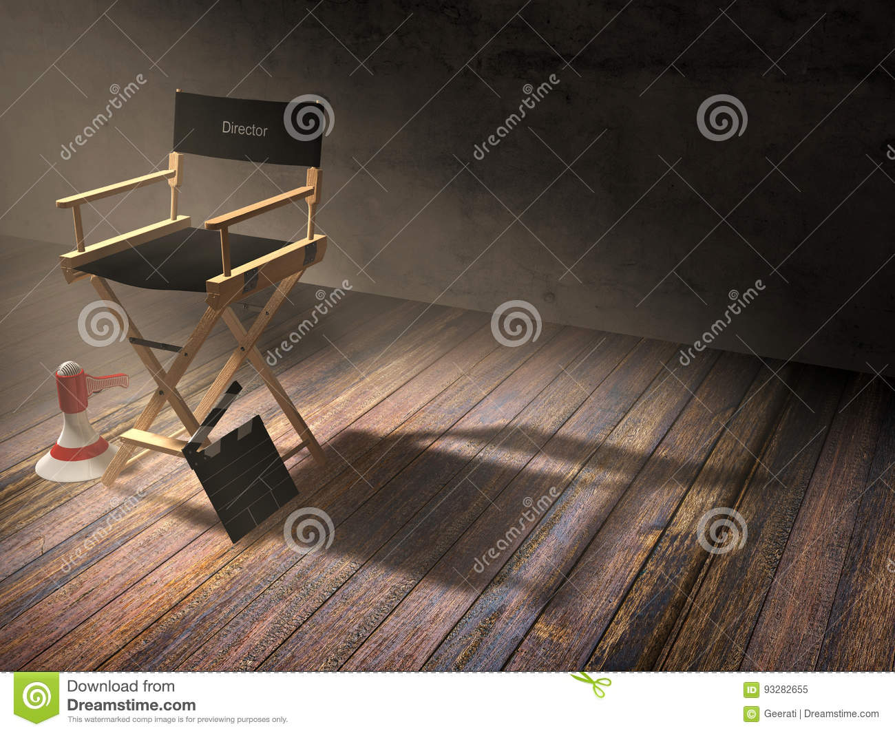 Director`s chair with clapper board and megaphone in dark room scene with spotlight light