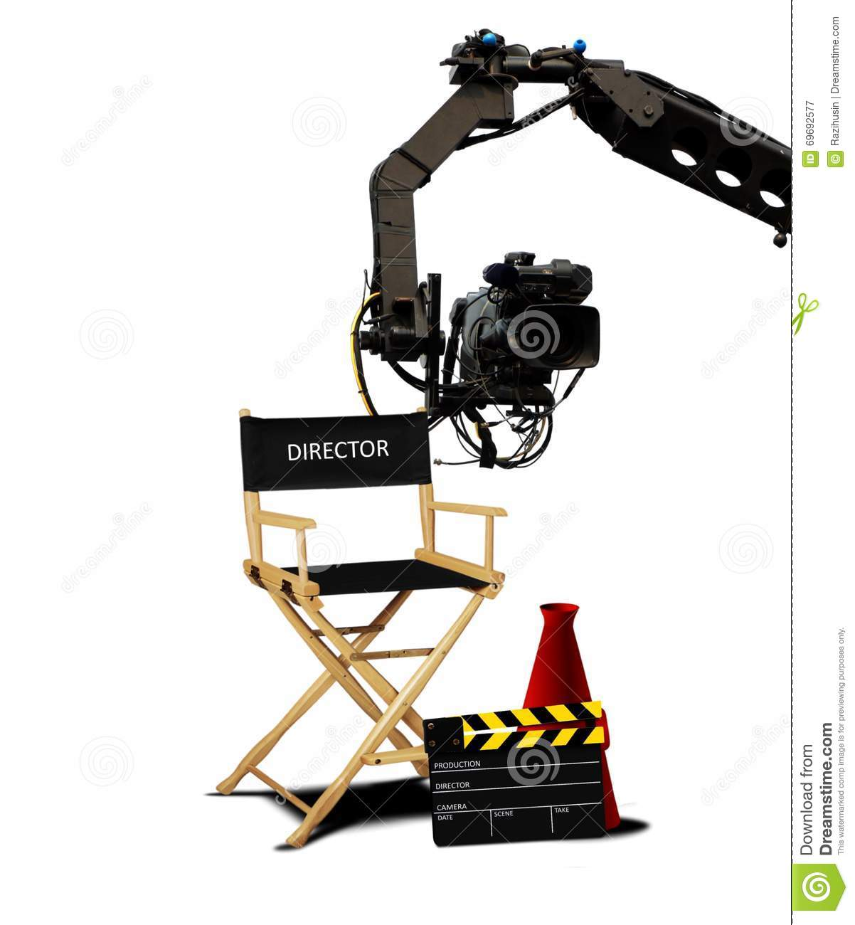 director seat and movie making equipment stock image