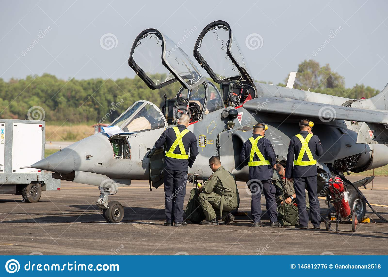 Director y los pilotos Alpha Jet Who de los aviones están comprobando la disposición para volar