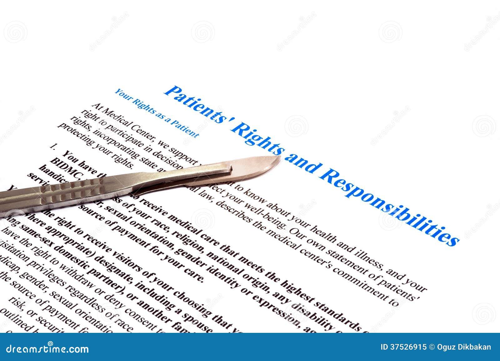 Direitos e original pacientes isolados da declaração das responsabilidades no branco