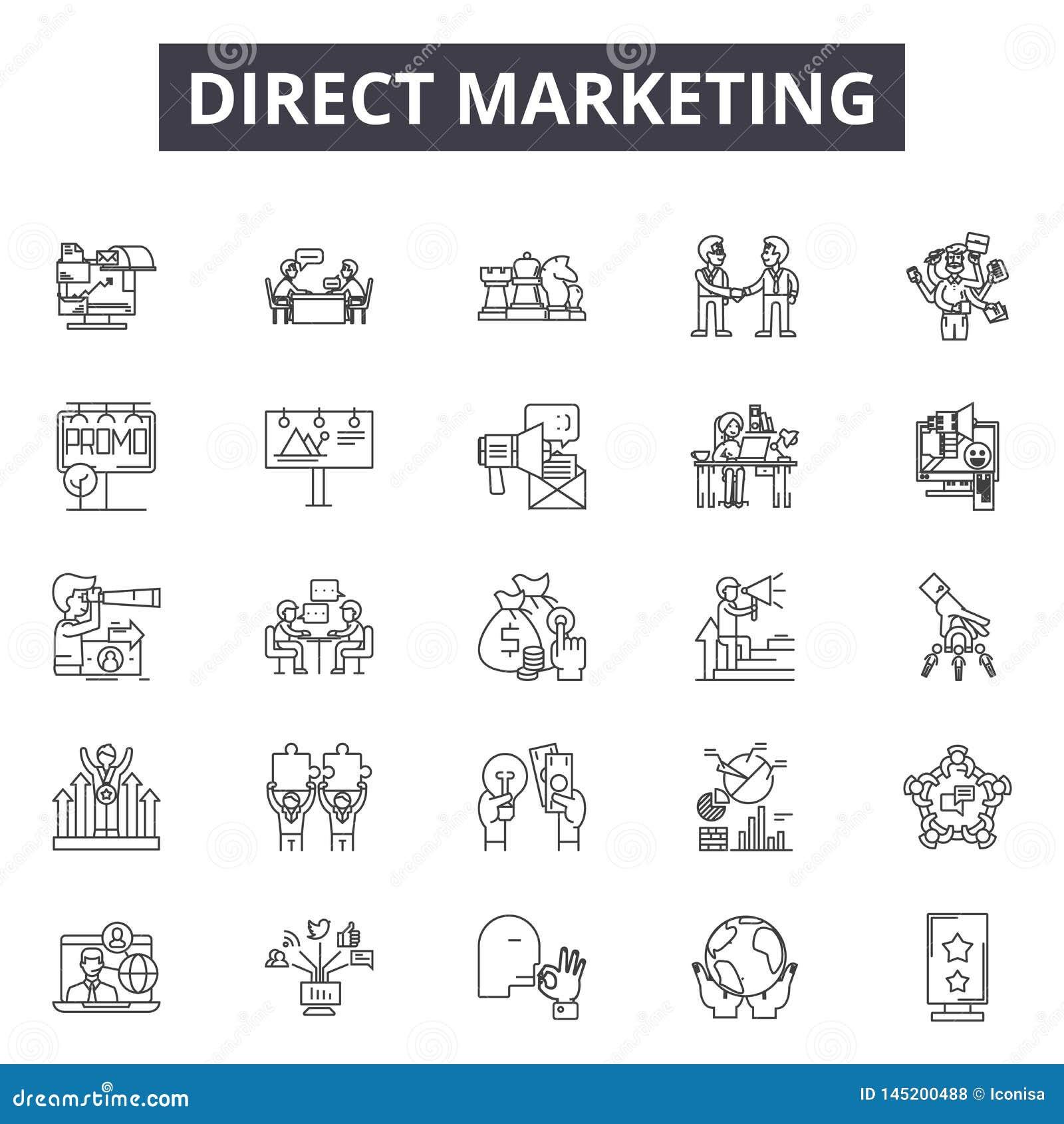 Direkt linje symboler, tecken, vektoruppsättning, översiktsillustrationbegrepp för marknadsföra