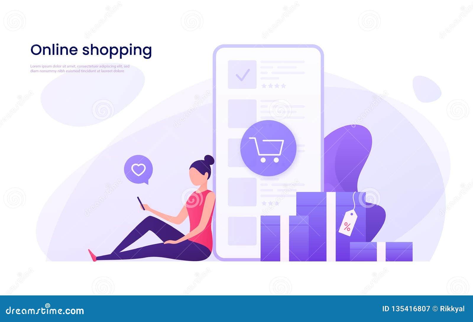 Direktanslutet shoppa, mobilt marknadsföra begrepp också vektor för coreldrawillustration