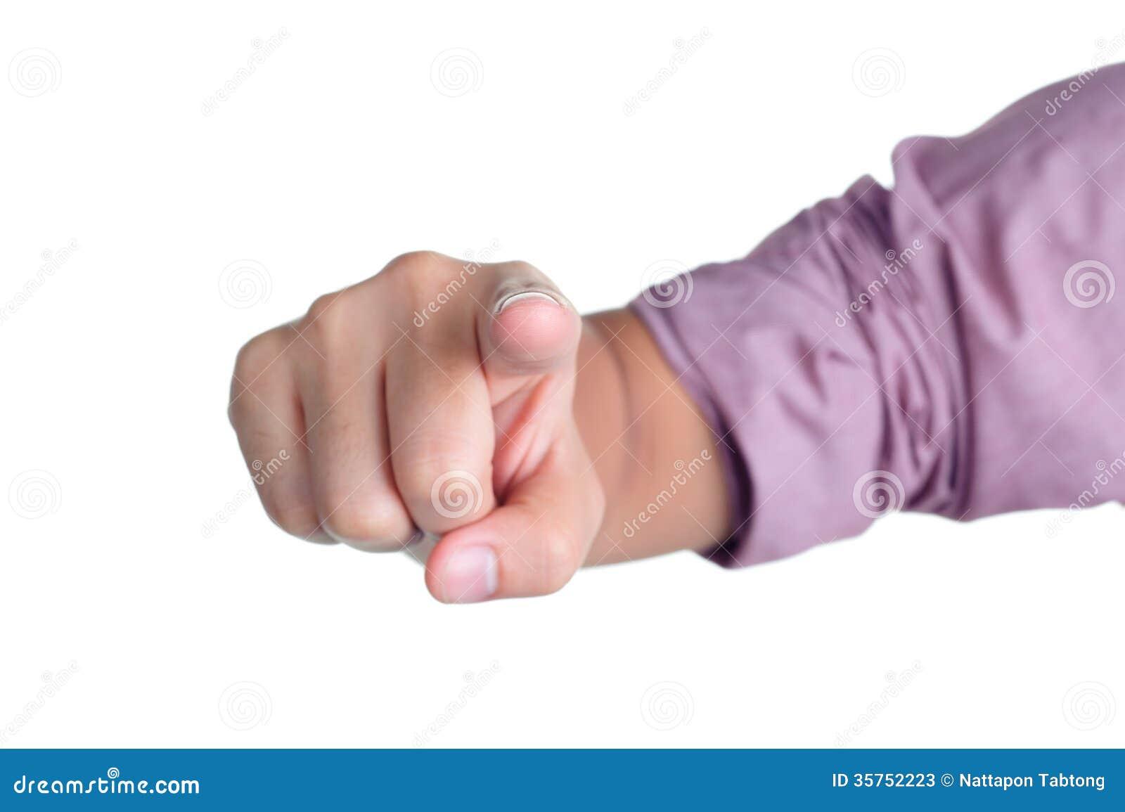 Diretto di posizione del segno della mano isolato