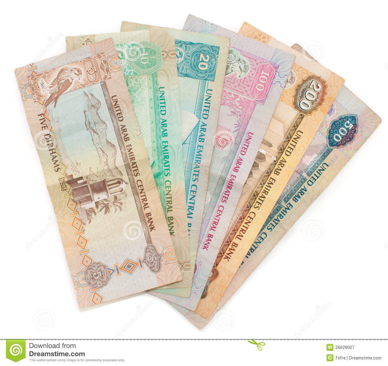 Dirham Notes Isolated On White Royalty Free Stock Photography - Image ...