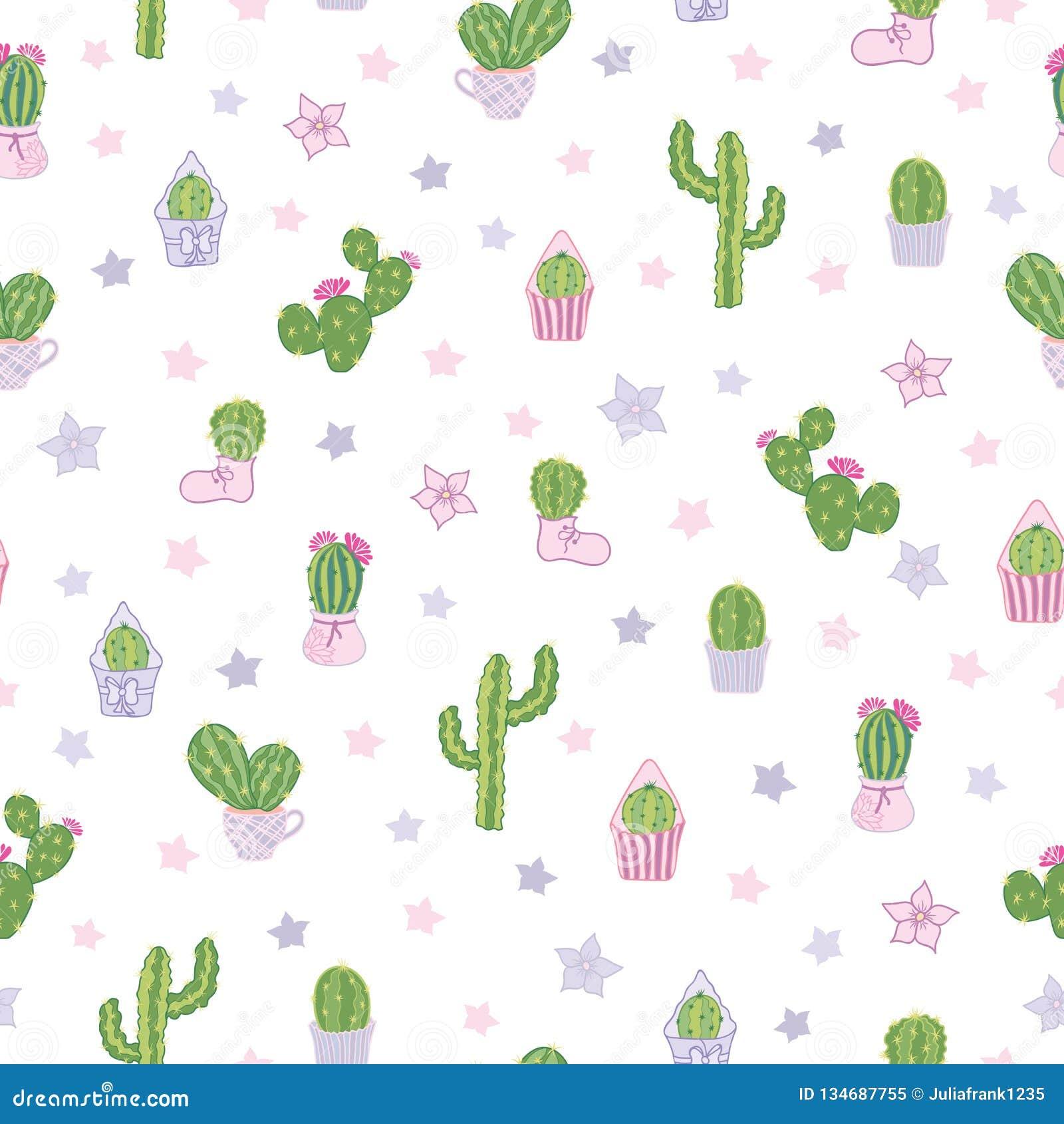 Dirigez coloré et les cactus blancs font la fête le fond sans couture de modèle