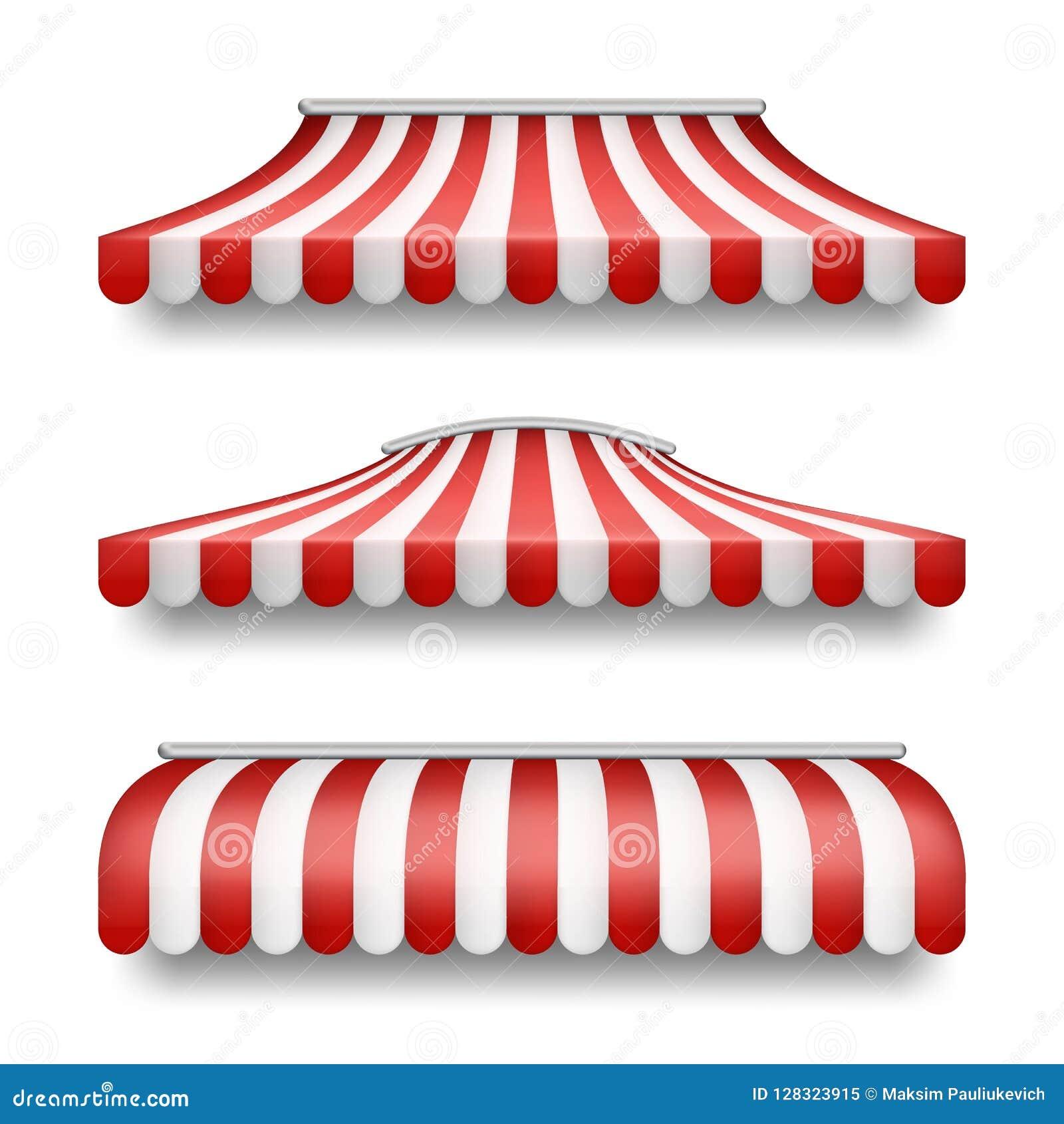 Dirigez l ensemble réaliste de tentes rayées pour des boutiques