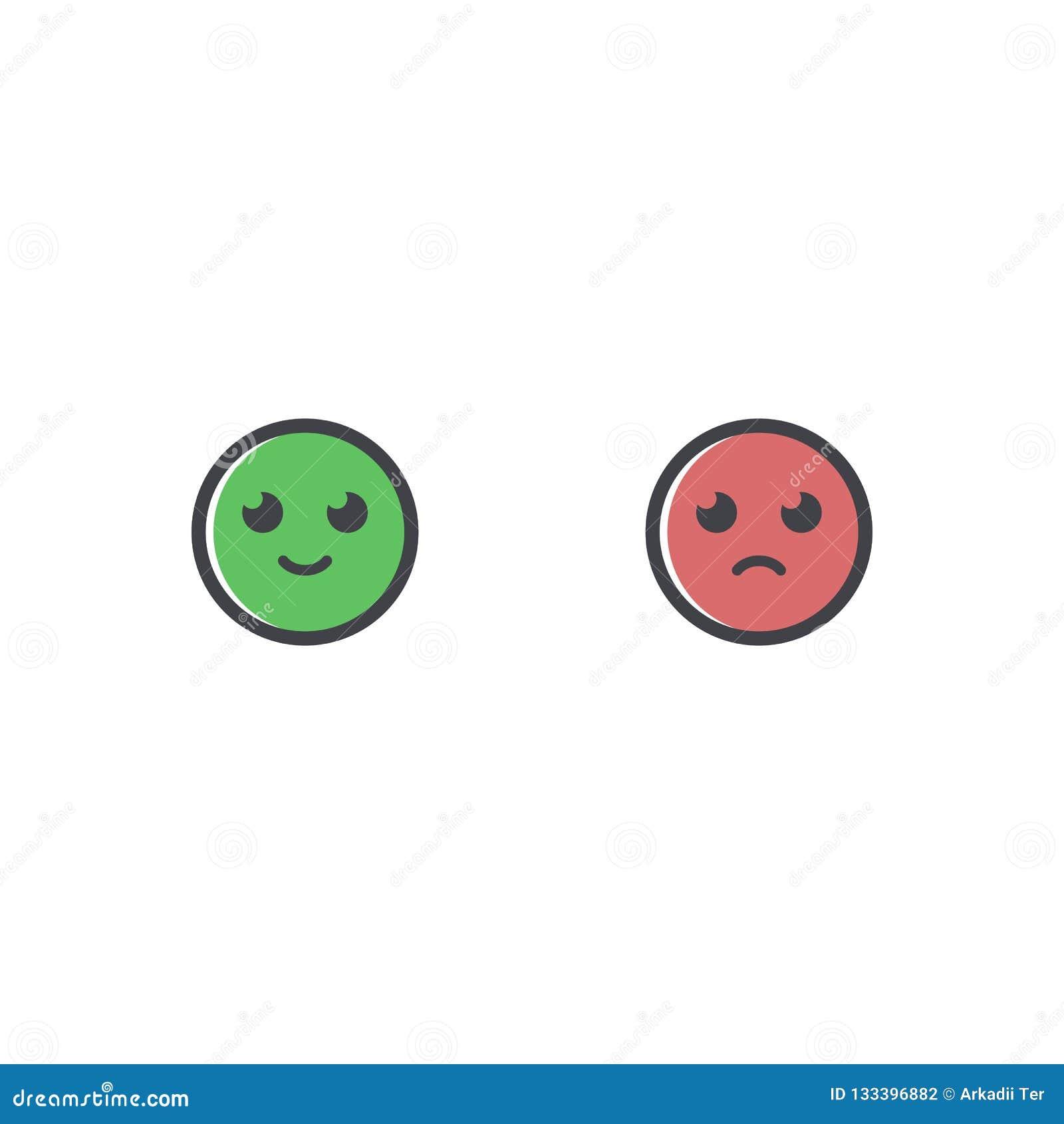 Dirigez l icône heureuse et triste de sourire Icône d émotion Greem et emoji rouge Comme et d aversion symbole
