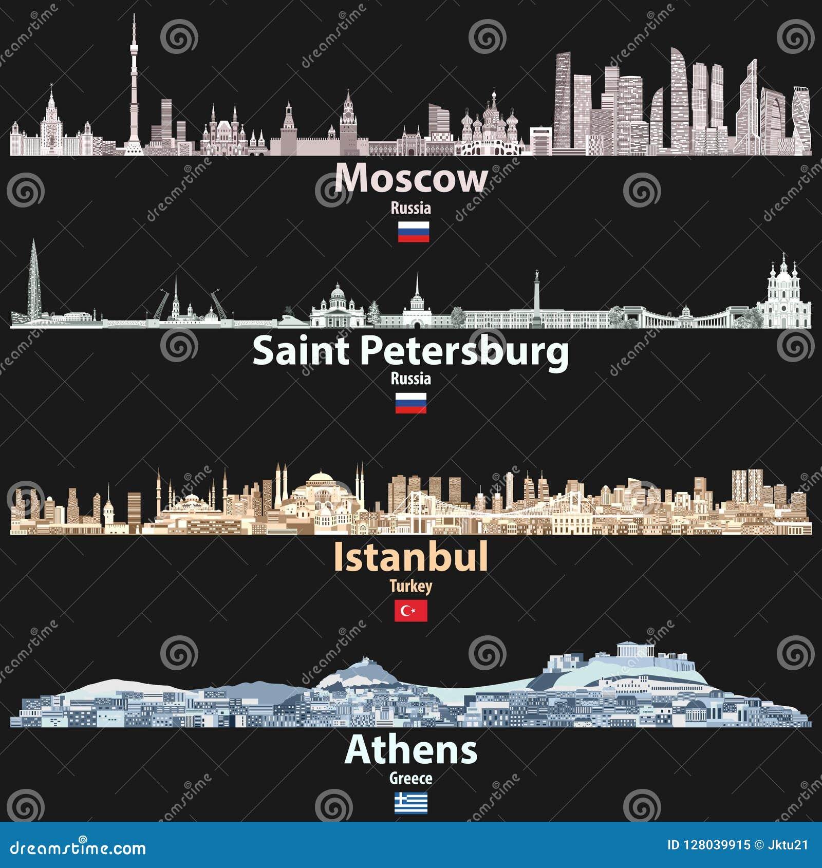 Dirigez l illustration abstraite de Moscou, St Petersbourg, Istanbul et les horizons de villes d Athènes la nuit dans des palette