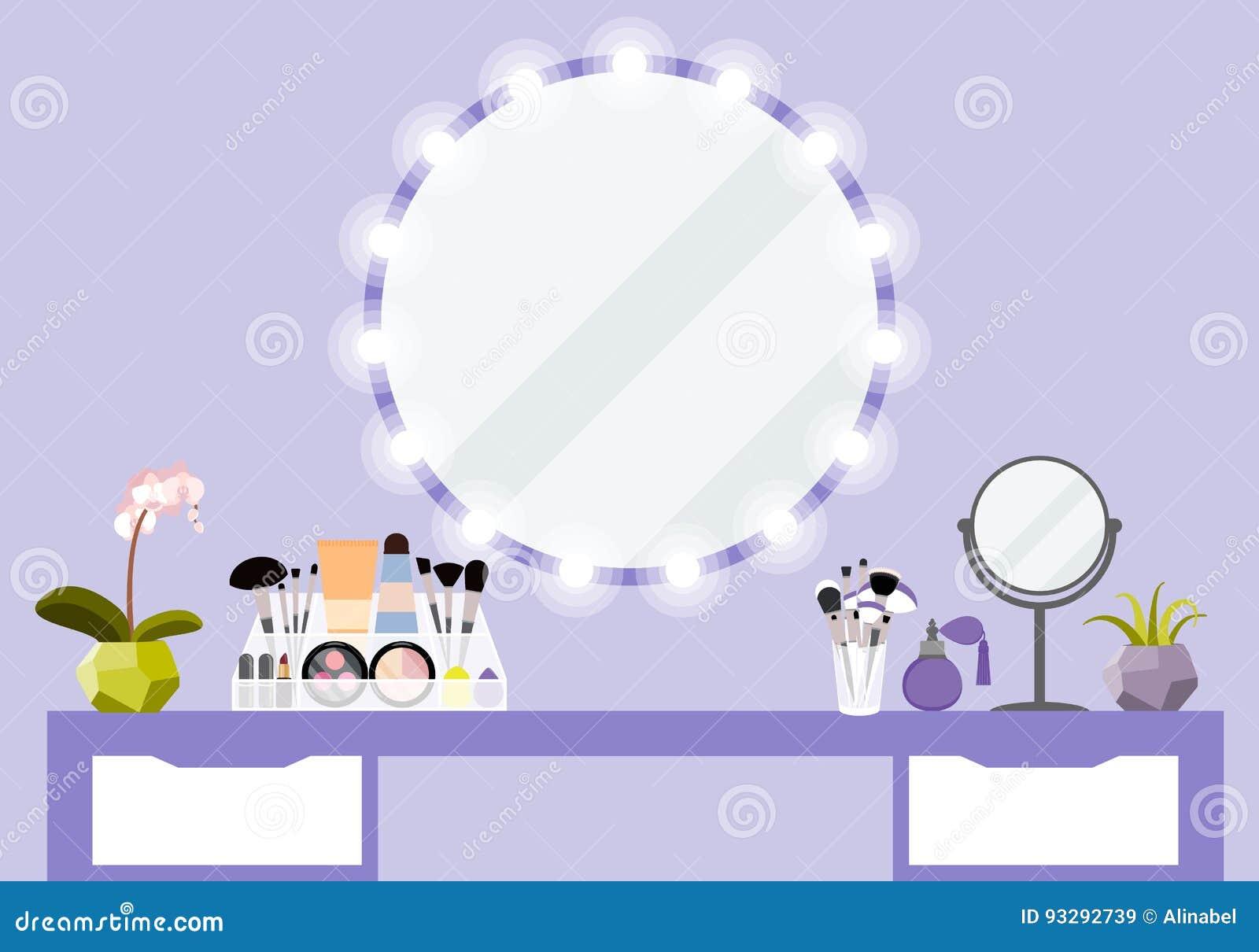 Dirigez l illustration avec la table de maquillage, le miroir et le produit de cosmétiques