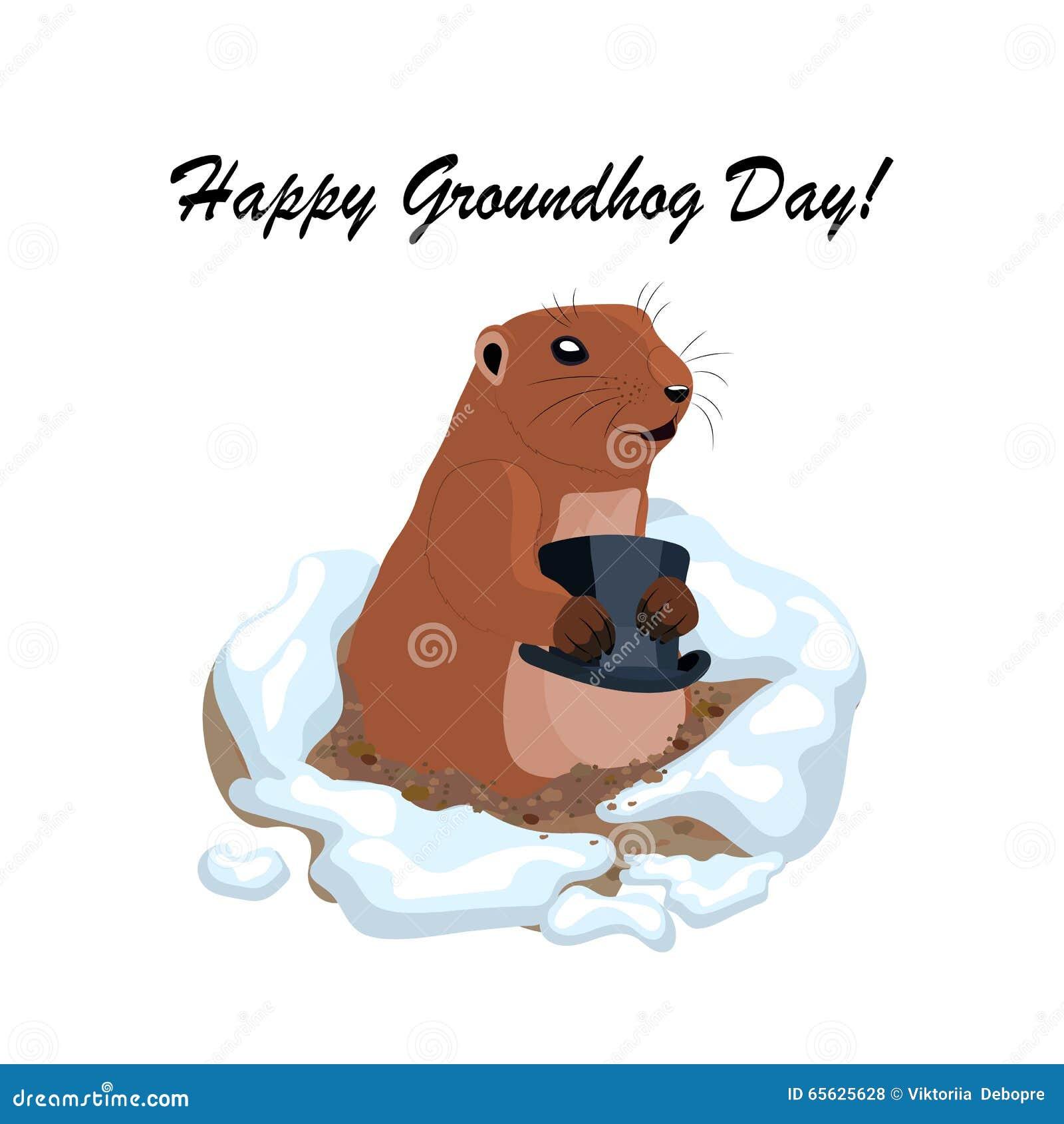 Dirigez l illustration avec le groundhog mignon tenant le chapeau noir hors d un trou