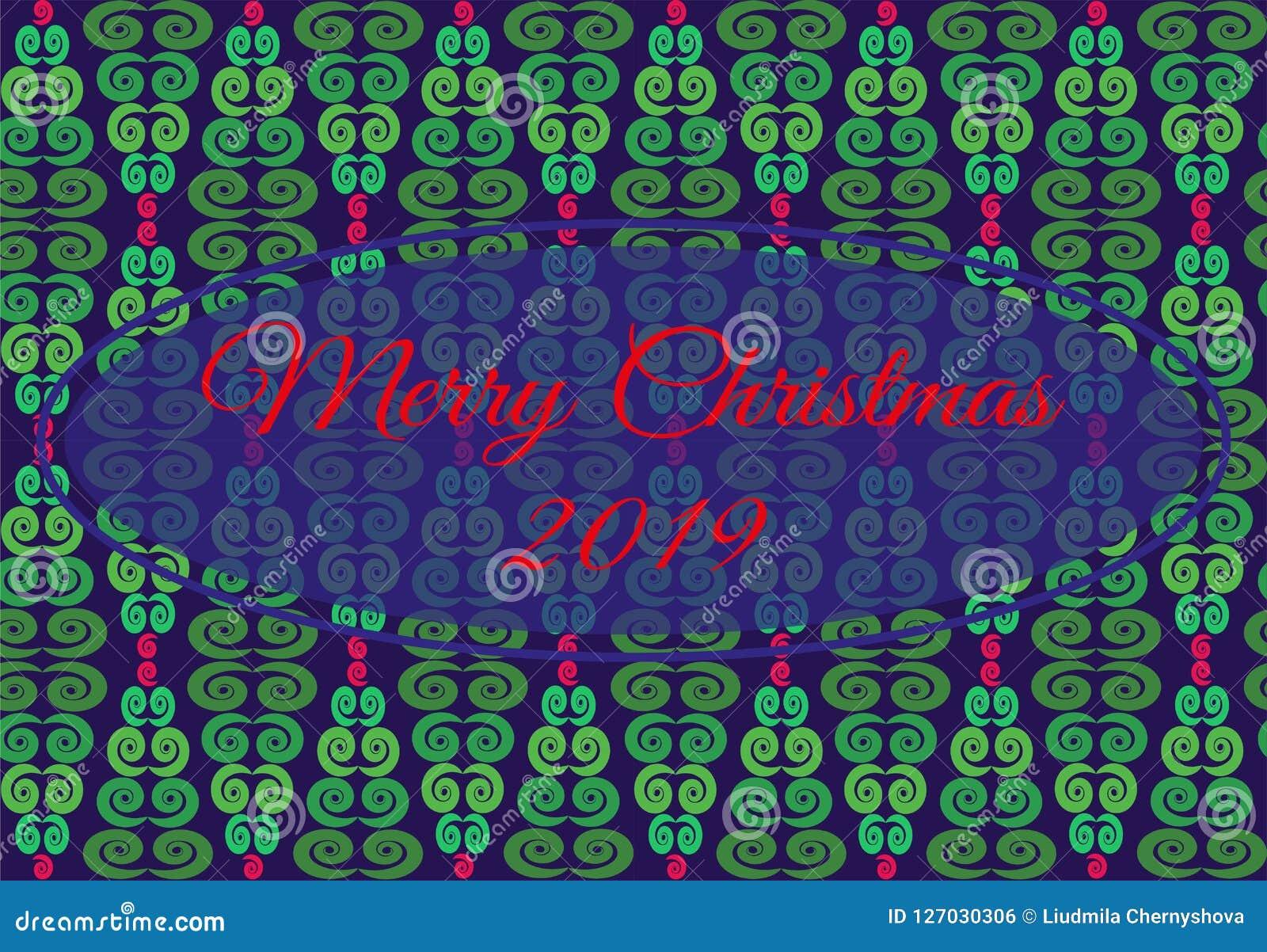 Dirigez l illustration avec le modèle géométrique de l arbre de Noël des fleurs vertes, rouges, bleues cadre entral avec le Joyeu