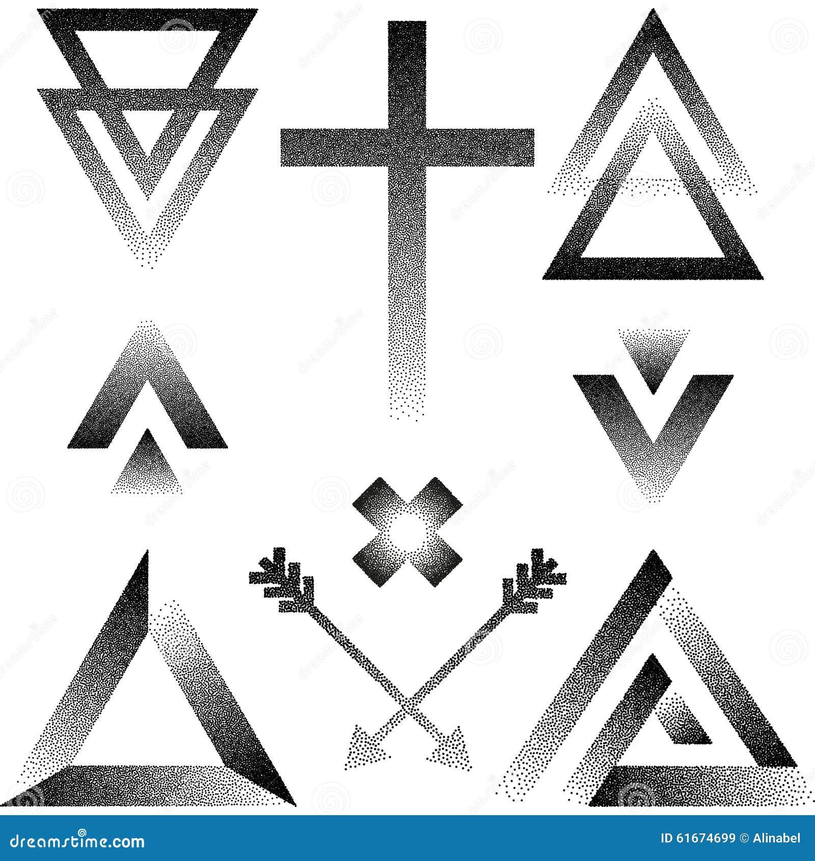 dirigez l 39 illustration avec le pointillage de la triangle fl che croix illustration de. Black Bedroom Furniture Sets. Home Design Ideas