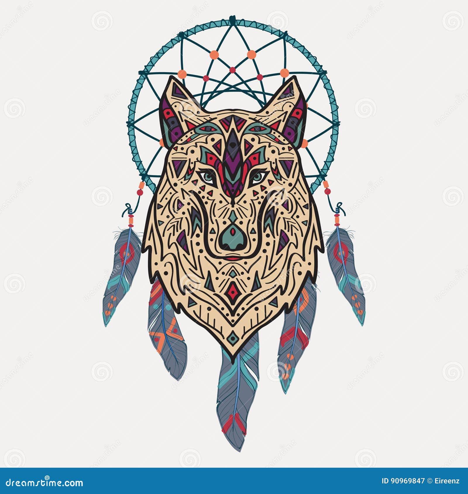 Dirigez l illustration colorée du loup tribal de style avec les ornements ethniques et le receveur rêveur