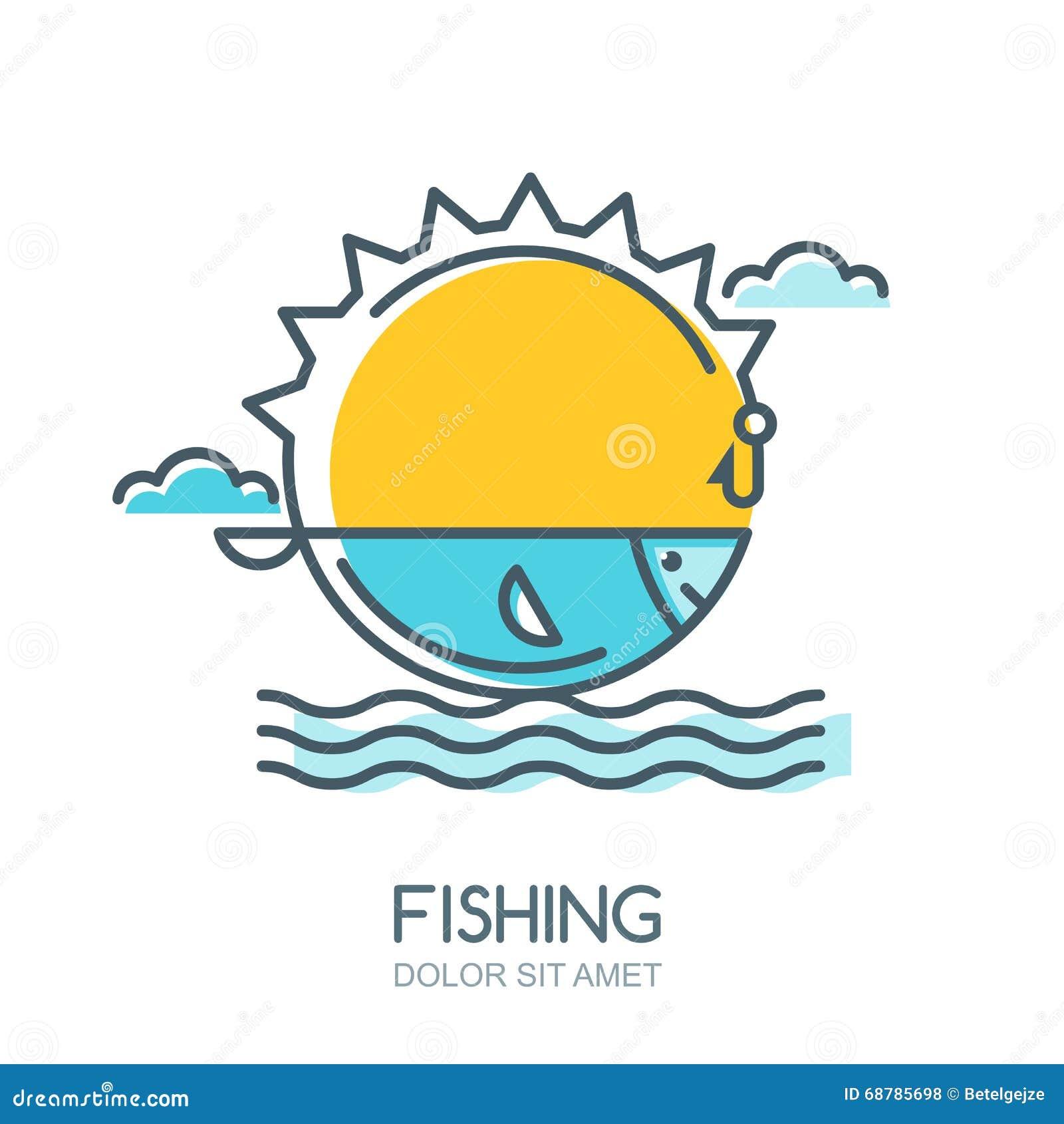 Dirigez l illustration colorée linéaire du soleil, des poissons en mer, de la canne à pêche et du crochet