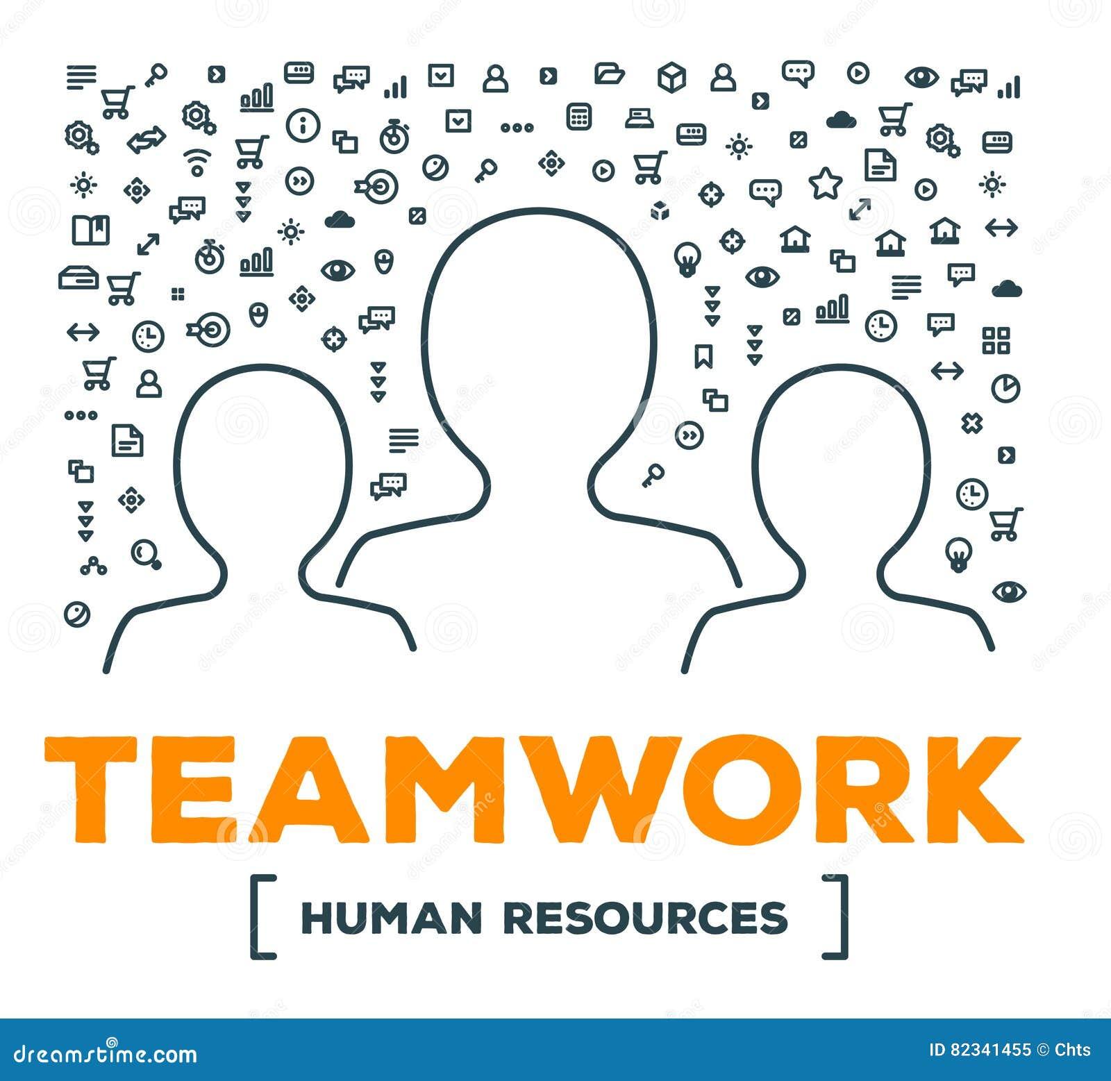 Dirigez l illustration créative de l équipe de personnes avec l ensemble de ligne ico