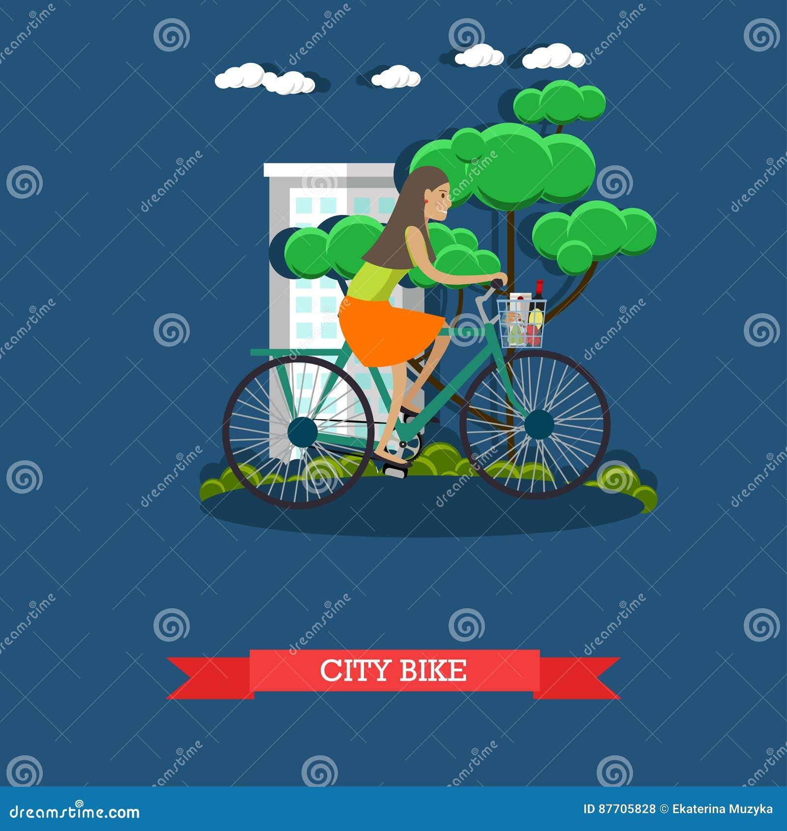 Dirigez l illustration d un vélo de ville d équitation de fille, style plat