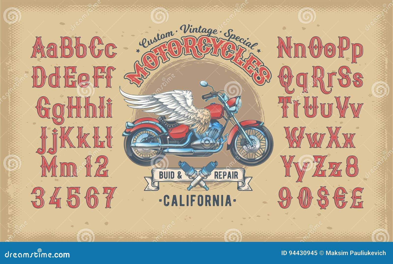 Dirigez l illustration d une police rouge de vintage, l alphabet latin avec la rétro moto faite sur commande