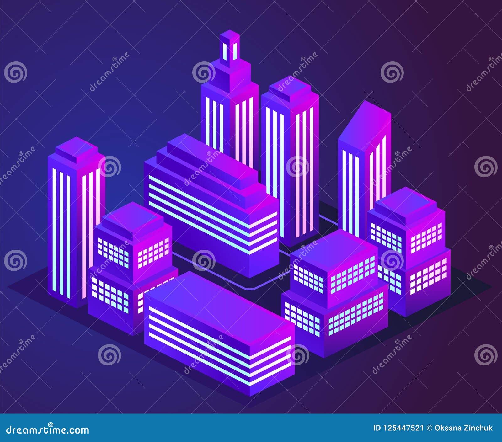 Dirigez l illustration d une ville au néon rougeoyante de nuit Lumières pourpres et bleues au néon lumineuses et rougeoyantes Pay