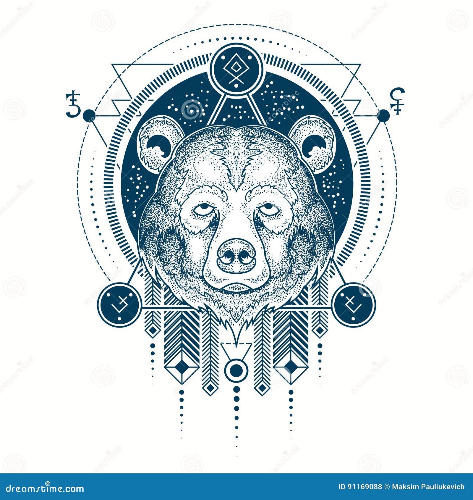 Dirigez L Illustration D Une Vue De Face De Tatouage Geometrique D