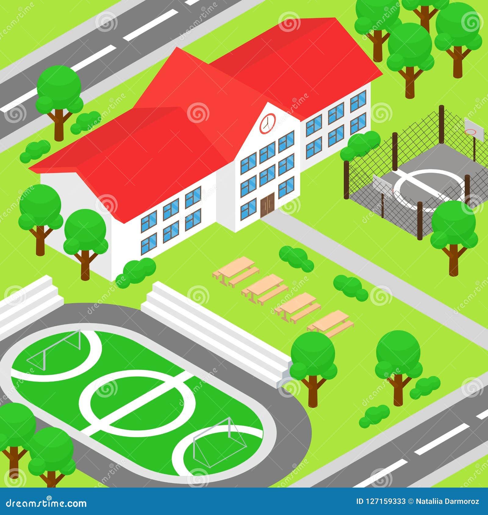 Sol Terrain De Basket dirigez l'illustration de l'école isométrique et de la