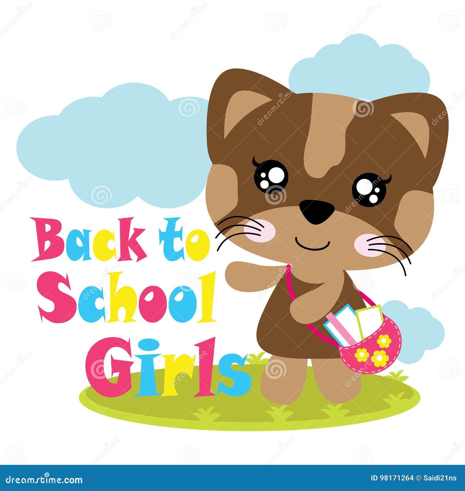 Dirigez l illustration de bande dessinée de la fille mignonne de chat de nouveau à l école