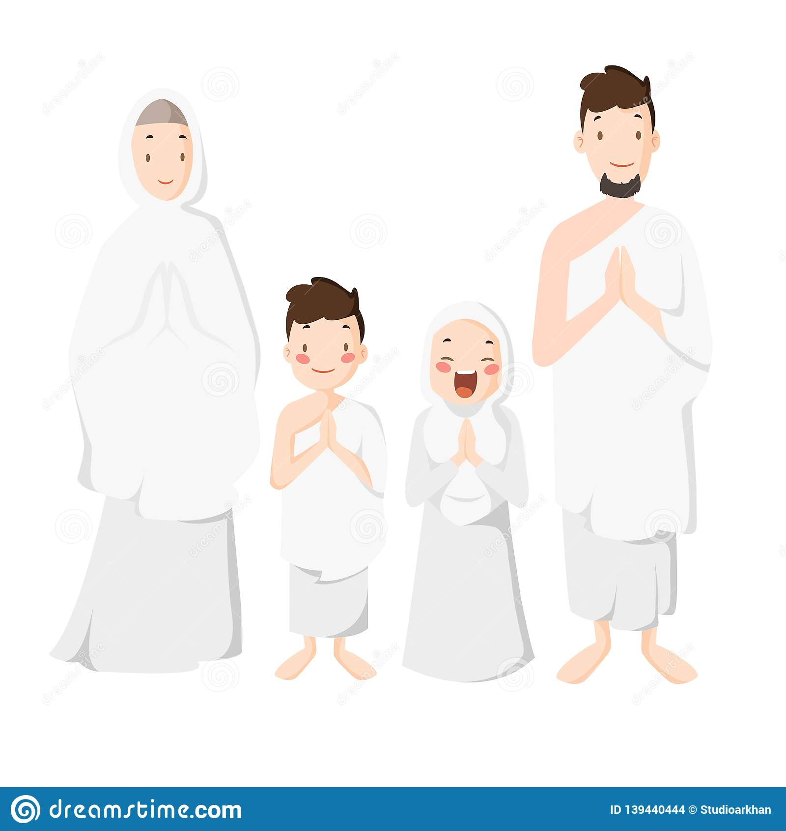 Dirigez - l illustration de bande dessinée de famille de musulmans