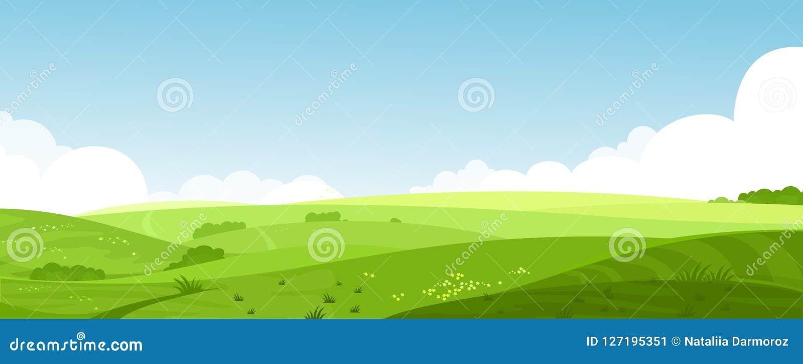 Dirigez l illustration de beaux champs d été aménagent en parc avec une aube, collines vertes, ciel bleu de couleur lumineuse, pa