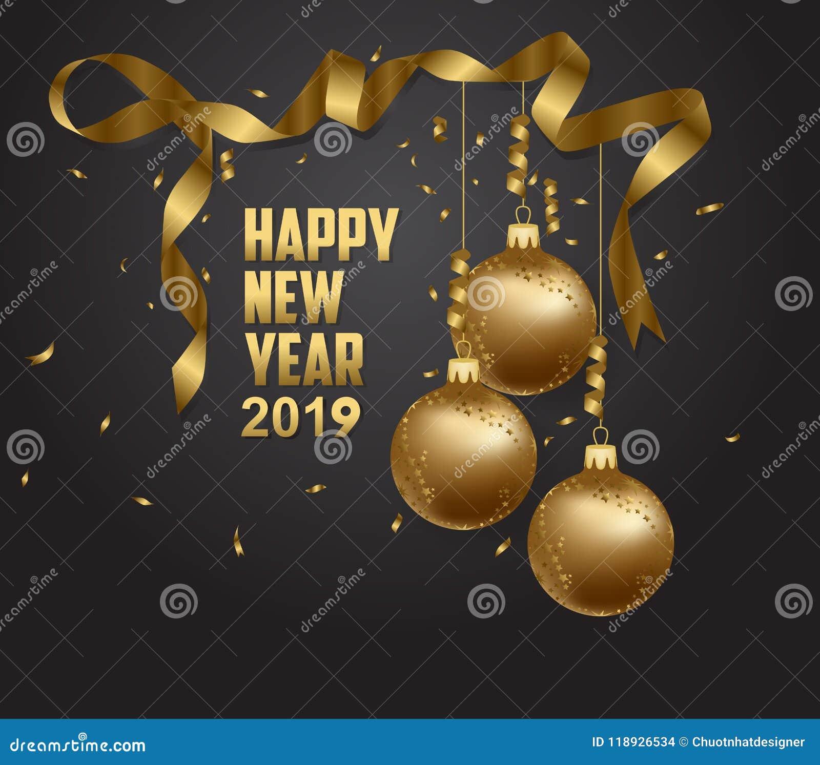 Dirigez l illustration de l or 2019 de bonne année et de l endroit noir de collors pour des boules de Noël des textes