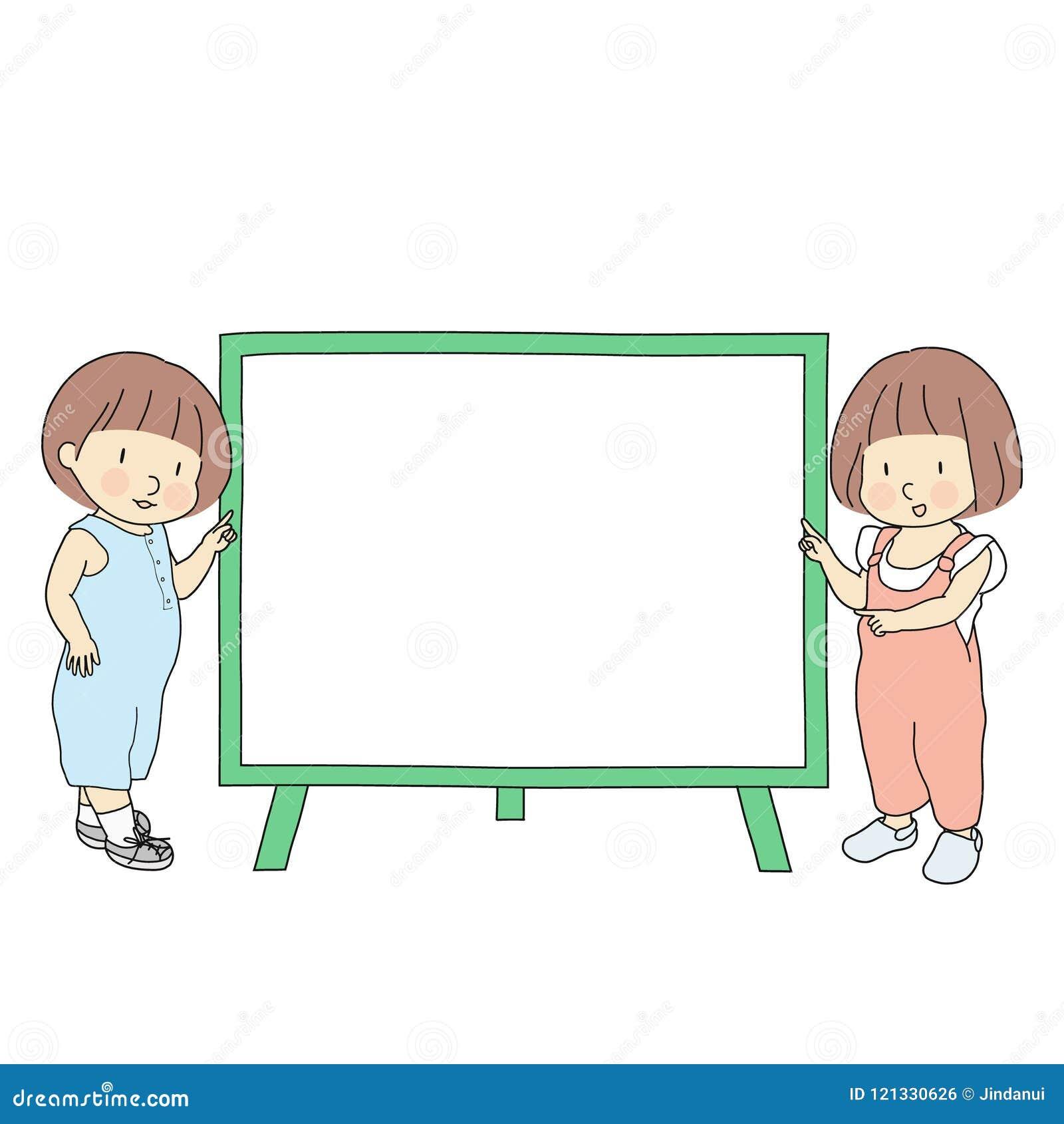 Dirigez l illustration de deux petits enfants, garçon et fille, se dirigeant au tableau blanc vide pour la présentation, la broch