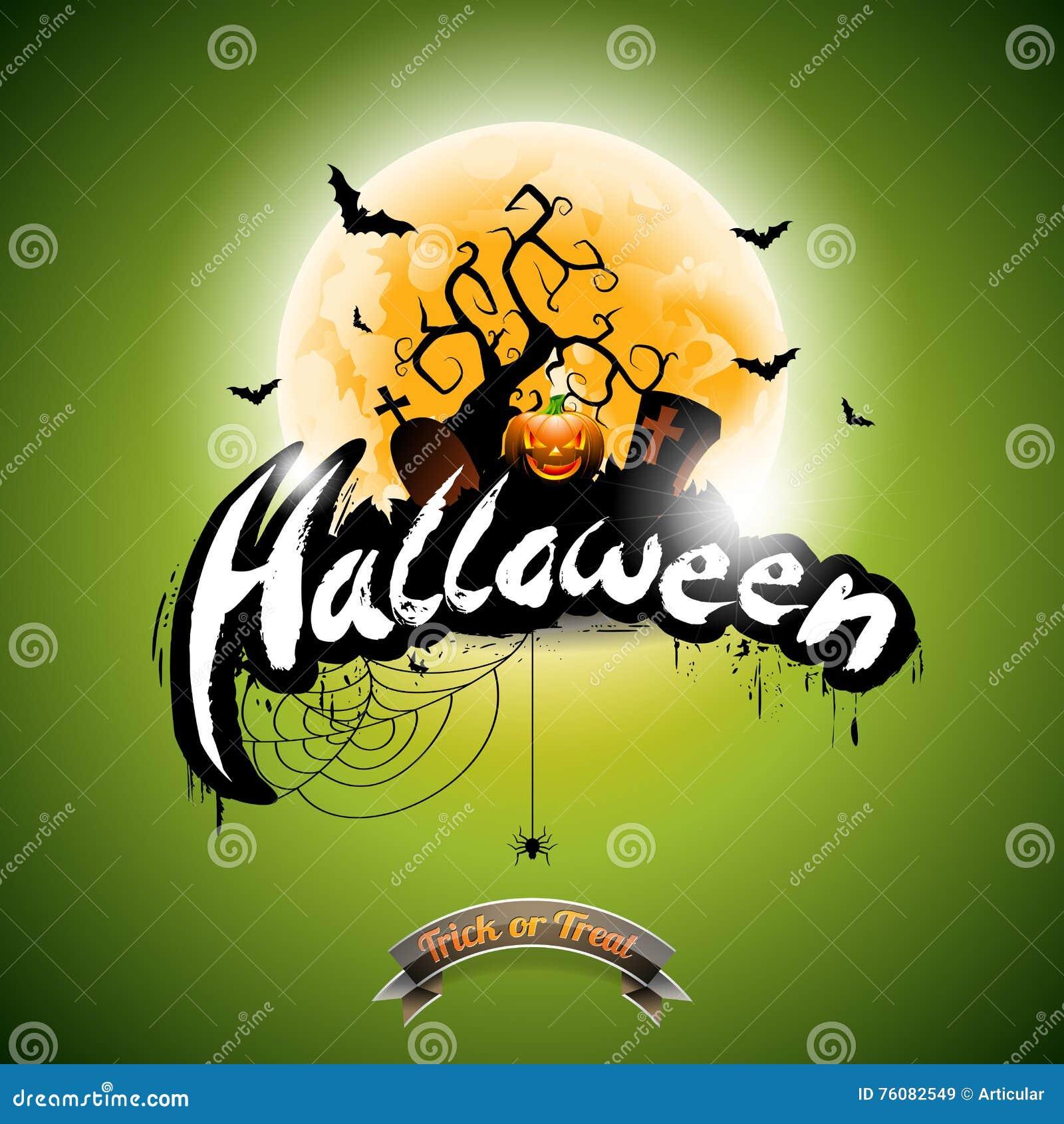 Dirigez l illustration de Halloween avec le potiron sur le fond vert Tombes, battes et lune
